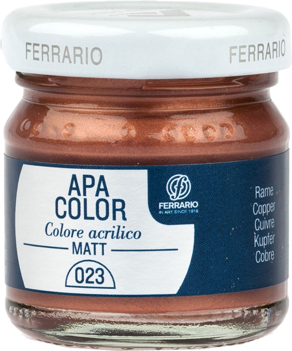 Ferrario Краска акриловая Apa Color цвет медь 40 мл BA0040А0023BA0040А0023Матовая акриловая краска Apa Color итальянской компании Ferrario на водной основе, готова к использованию. Основные качества акриловой краски Apa Color: прочность, светостойкость и экологичность. Благодаря акриловой смоле Apa Color пластична и не дает трещин. Именно поэтому краска прекрасно ложится на любые поверхности, будь то стекло, дерево или ткань, что особенно хорошо в дизайне и декоре. Она быстро сохнет, после высыхания становится водостойкой. Акриловая краска Apa Color не потускнеет со временем, ее светостойкость не позволит измениться цвету, он не выгорит на солнце и не пожелтеет. Акриловая краска Apa Color – это отличный выбор в пользу яркой живописи, так как в ее палитре только глубокие и насыщенные цвета. Из-за того, что акриловая краска Apa Color на водной основе, она почти совсем не пахнет, малотоксична – подходит для работы в помещениях, можно заниматься творчеством вместе с детьми. Акриловая краска Apa Color разводится водой, однако это не значит, что для нее нельзя использовать специальные растворители и медиумы, предназначенные для акриловых красок – в этом случае сохраняется высокая пигментированность, но объем краски увеличивается и появляется возможность создания различных фактур и эффектов. Акриловую краску Apa Color легко наносить кистью, шпателем, валиком.