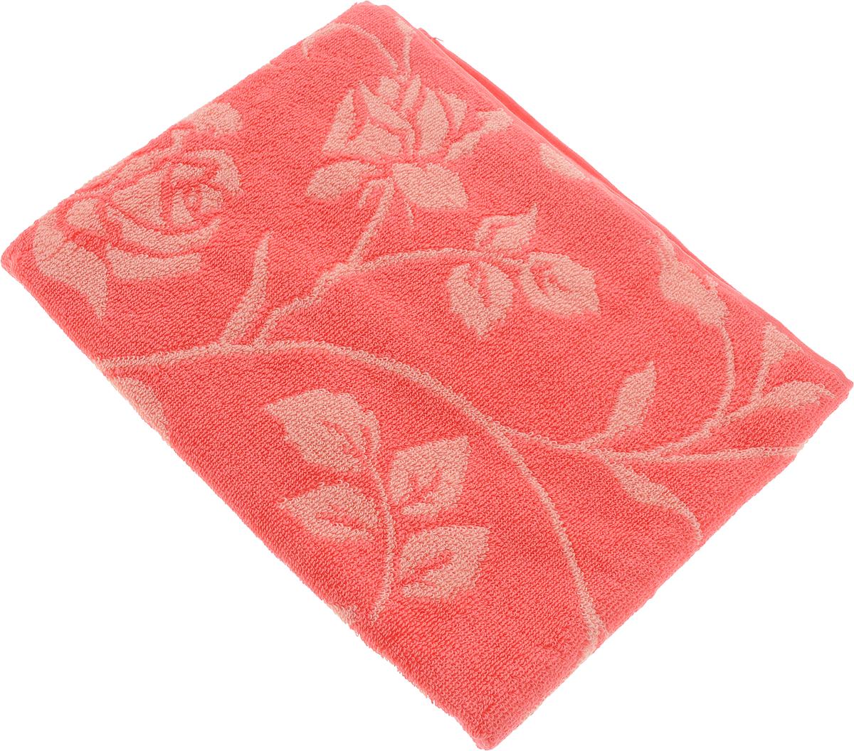 Полотенце банное Aquarelle Розы 2, цвет: розово-персиковый, коралловый, 50 х 90 см. 710653710653Полотенце банное AQUARELLE, размер 50х90см, серия-Розы 2, розово-персиковый, коралл
