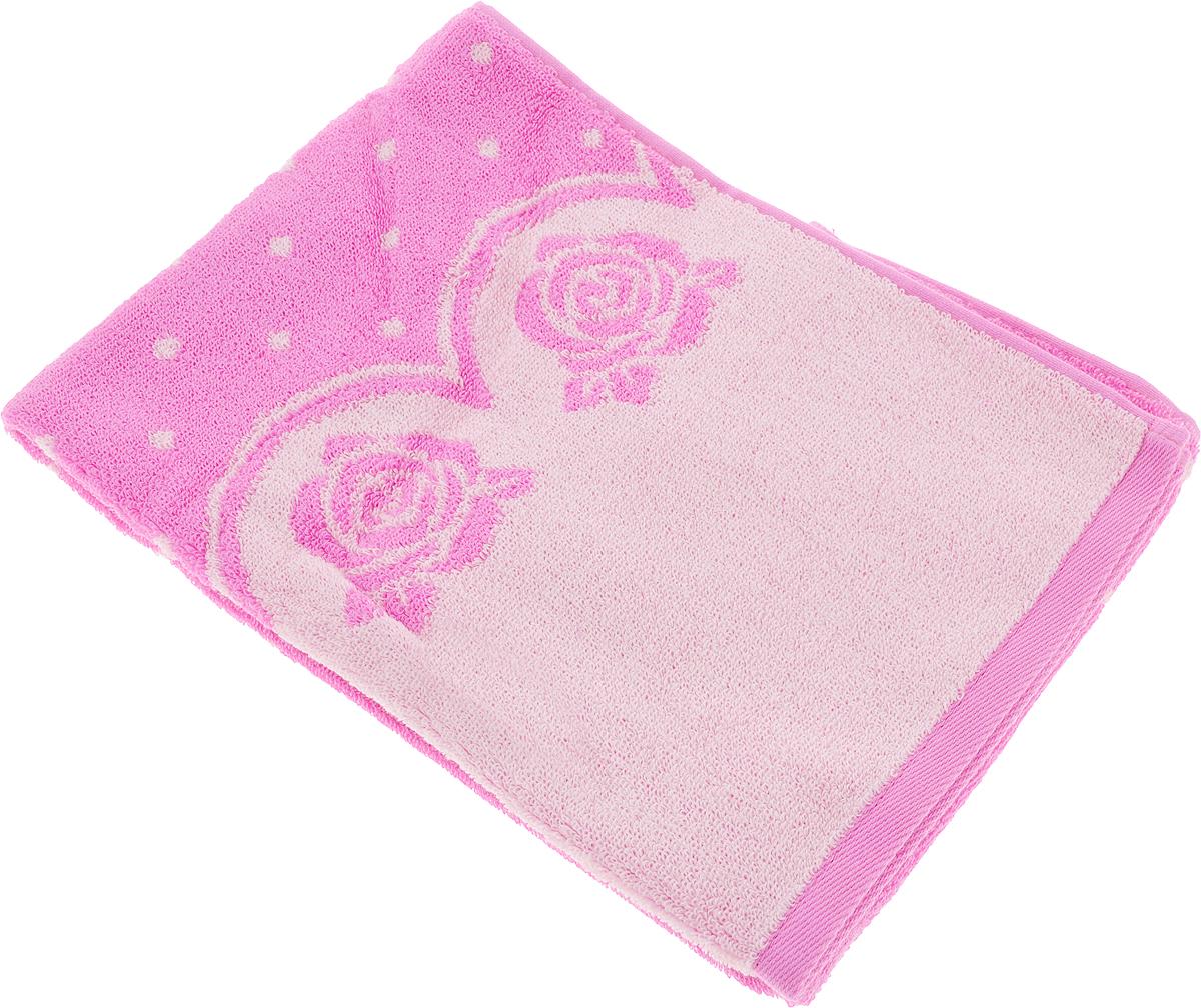 Полотенце банное Aquarelle Розы 3, цвет: розовый, орхидея, 50 х 90 см полотенце махровое aquarelle таллин 1 цвет ваниль 50 х 90 см 707762