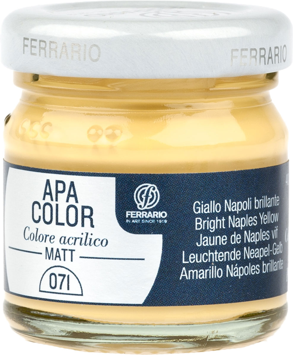 Ferrario Краска акриловая Apa Color цвет неаполитанская желтая глянцевая 40 млBA0040А0071Матовая акриловая краска Apa Color итальянской компании Ferrario на водной основе, готова к использованию. Основные качества акриловой краски Apa Color: прочность, светостойкость и экологичность. Благодаря акриловой смоле Apa Color пластична и не дает трещин. Именно поэтому краска прекрасно ложится на любые поверхности, будь то стекло, дерево или ткань, что особенно хорошо в дизайне и декоре. Она быстро сохнет, после высыхания становится водостойкой. Акриловая краска Apa Color не потускнеет со временем, ее светостойкость не позволит измениться цвету, он не выгорит на солнце и не пожелтеет. Акриловая краска Apa Color – это отличный выбор в пользу яркой живописи, так как в ее палитре только глубокие и насыщенные цвета. Из-за того, что акриловая краска Apa Color на водной основе, она почти совсем не пахнет, малотоксична – подходит для работы в помещениях, можно заниматься творчеством вместе с детьми. Акриловая краска Apa Color разводится водой, однако это не значит, что для нее нельзя использовать специальные растворители и медиумы, предназначенные для акриловых красок – в этом случае сохраняется высокая пигментированность, но объем краски увеличивается и появляется возможность создания различных фактур и эффектов. Акриловую краску Apa Color легко наносить кистью, шпателем, валиком.