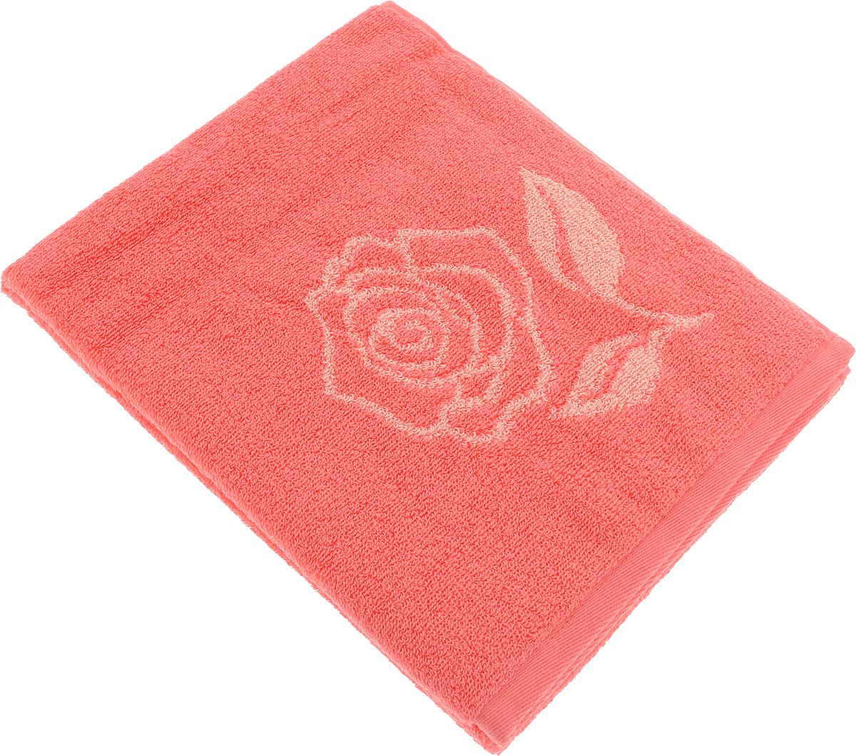 Полотенце банное Aquarelle Розы 1, цвет: розово-персиковый, коралловый, 50 х 90 см bon appetit кухонное полотенце aquarelle 38х63 см