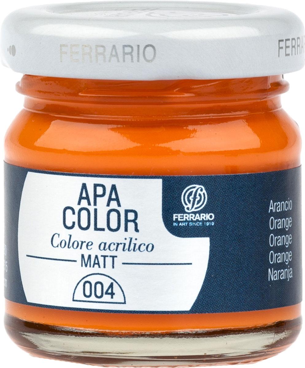 Ferrario Краска акриловая Apa Color цвет оранжевый 40 мл BA0040А0004BA0040А0004Матовая акриловая краска Apa Color итальянской компании Ferrario на водной основе, готова к использованию. Основные качества акриловой краски Apa Color: прочность, светостойкость и экологичность. Благодаря акриловой смоле Apa Color пластична и не дает трещин. Именно поэтому краска прекрасно ложится на любые поверхности, будь то стекло, дерево или ткань, что особенно хорошо в дизайне и декоре. Она быстро сохнет, после высыхания становится водостойкой. Акриловая краска Apa Color не потускнеет со временем, ее светостойкость не позволит измениться цвету, он не выгорит на солнце и не пожелтеет. Акриловая краска Apa Color – это отличный выбор в пользу яркой живописи, так как в ее палитре только глубокие и насыщенные цвета. Из-за того, что акриловая краска Apa Color на водной основе, она почти совсем не пахнет, малотоксична – подходит для работы в помещениях, можно заниматься творчеством вместе с детьми. Акриловая краска Apa Color разводится водой, однако это не значит, что для нее нельзя использовать специальные растворители и медиумы, предназначенные для акриловых красок – в этом случае сохраняется высокая пигментированность, но объем краски увеличивается и появляется возможность создания различных фактур и эффектов. Акриловую краску Apa Color легко наносить кистью, шпателем, валиком.
