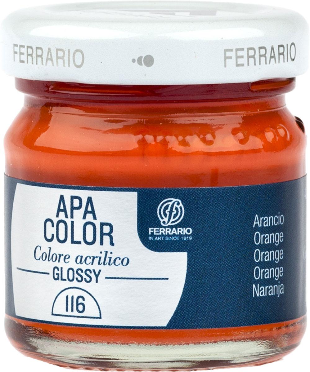 Ferrario Краска акриловая Apa Color цвет оранжевый глянцевыйBA0040В0116Глянцевая акриловая краска Apa Color итальянской компании Ferrario на водной основе, готова к использованию. Основные качества акриловой краски Apa Color: прочность, светостойкость и экологичность. Благодаря акриловой смоле Apa Color пластична и не дает трещин. Именно поэтому краска прекрасно ложится на любые поверхности, будь то стекло, дерево или ткань, что особенно хорошо в дизайне и декоре. Она быстро сохнет, после высыхания становится водостойкой. Акриловая краска Apa Color не потускнеет со временем, ее светостойкость не позволит измениться цвету, он не выгорит на солнце и не пожелтеет. Акриловая краска Apa Color – это отличный выбор в пользу яркой живописи, так как в ее палитре только глубокие и насыщенные цвета. Из-за того, что акриловая краска Apa Color на водной основе, она почти совсем не пахнет, малотоксична – подходит для работы в помещениях, можно заниматься творчеством вместе с детьми. Акриловая краска Apa Color разводится водой, однако это не значит, что для нее нельзя использовать специальные растворители и медиумы, предназначенные для акриловых красок – в этом случае сохраняется высокая пигментированность, но объем краски увеличивается и появляется возможность создания различных фактур и эффектов. Акриловую краску Apa Color легко наносить кистью, шпателем, валиком.
