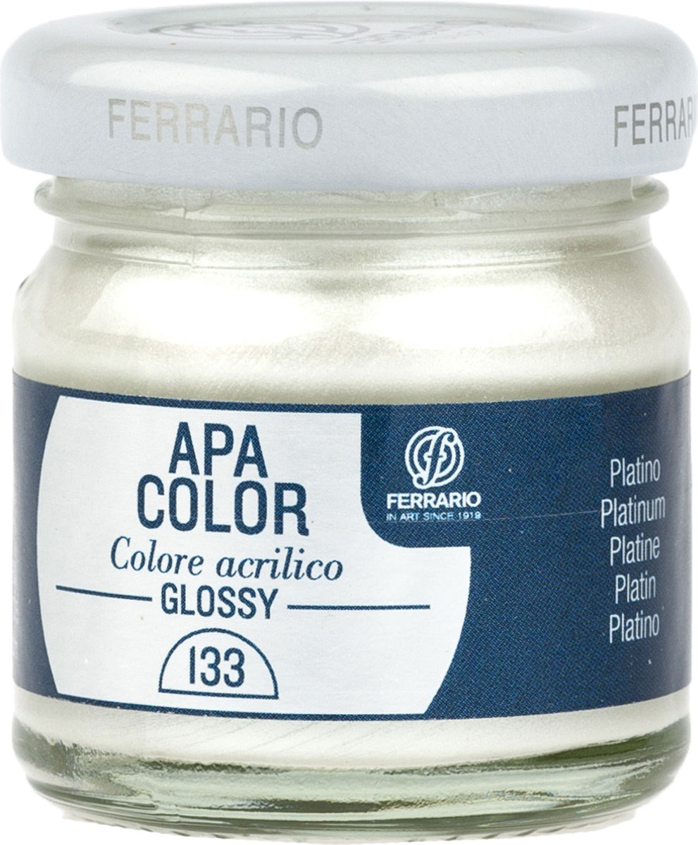 Ferrario Краска акриловая Apa Color цвет платинаBA0040В0133Глянцевая акриловая краска Apa Color итальянской компании Ferrario на водной основе готова к использованию. Основные качества акриловой краски Apa Color: прочность, светостойкость и экологичность. Благодаря акриловой смоле Apa Color пластична и не дает трещин. Именно поэтому краска прекрасно ложится на любые поверхности, будь то стекло, дерево или ткань, что особенно хорошо в дизайне и декоре. Она быстро сохнет, после высыхания становится водостойкой. Акриловая краска Apa Color не потускнеет со временем, ее светостойкость не позволит измениться цвету, он не выгорит на солнце и не пожелтеет. Акриловая краска Apa Color – это отличный выбор в пользу яркой живописи, так как в ее палитре только глубокие и насыщенные цвета. Из-за того, что акриловая краска Apa Color на водной основе, она почти совсем не пахнет, малотоксична – подходит для работы в помещениях, можно заниматься творчеством вместе с детьми. Акриловая краска Apa Color разводится водой, однако это не значит, что для нее нельзя использовать специальные растворители и медиумы, предназначенные для акриловых красок – в этом случае сохраняется высокая пигментированность, но объем краски увеличивается и появляется возможность создания различных фактур и эффектов. Акриловую краску Apa Color легко наносить кистью, шпателем, валиком.