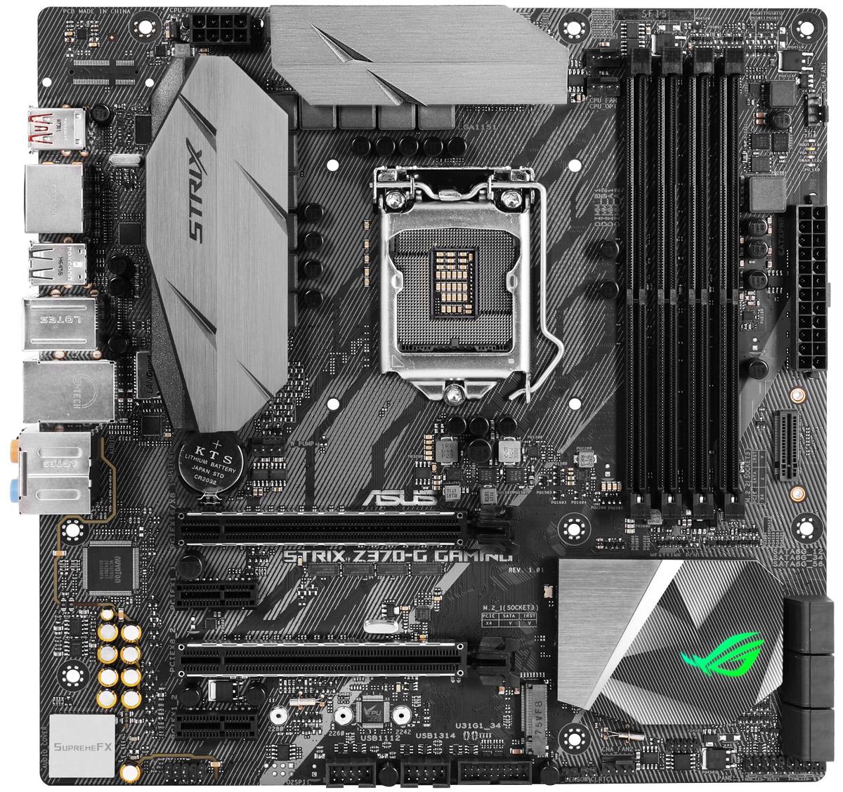 ASUS ROG Strix Z370-G Gaming материнская плата90MB0W00-M0EAY0Материнская плата ASUS ROG Strix Z370-G Gaming формата micro-ATX с чипсетом Intel Z370, синхронизируемой подсветкой Aura и современными интерфейсами.Смелый и агрессивный дизайн, эксклюзивная функциональность геймерской серии ROG и поддержка новейших процессоров Intel Core восьмого поколения – все это есть у материнских плат ASUS серии ROG Strix Z370, которые готовы предложить своим пользователям высокую производительность, дополненную широкими возможностями по разгону комплектующих. Модель ROG Strix Z370-G Gaming заворожит вас своим высококачественным звуком SupremeFX и красочной подсветкой Aura и превзойдет все ваши ожидания о том, какой скорости можно добиться в современных играх!ROG Strix Z370-G Gaming – это не только функциональная, но и невероятно красивая материнская плата, ведь она оснащается встроенной системой подсветки Aura с гибкой регулировкой. Причем визуальные эффекты можно синхронизировать с другими Aura-совместимыми устройствами, чтобы тем самым придать всему компьютеру еще большую яркость и индивидуальность.Материнская плата ROG Strix Z370-G Gaming предлагает гибкие средства управления системой охлаждения компьютера, которые доступны через интерфейс UEFI BIOS и специальную утилиту Fan Xpert 4.Для слотов памяти используется оптимизированная разводка в определенном слое печатной платы (технология OptiMem), способствующая минимизации электромагнитных помех, и T-образная топология подключения, улучшающая синхронизацию между сигналами, идущими в разные модули. Благодаря этому улучшается стабильность работы памяти, в том числе и на повышенных частотах, вплоть до DDR4-4000 – при заполнении всех слотов.На данной материнской плате используется Ethernet-контроллер Intel I219-V. Сетевые решения, разработанные специалистами компании Intel, славятся своей стабильной и эффективной работой при низком уровне загрузки центрального процессора.Благодаря наличию двух разъемов M.2, работающих в режиме PCIe 3.0