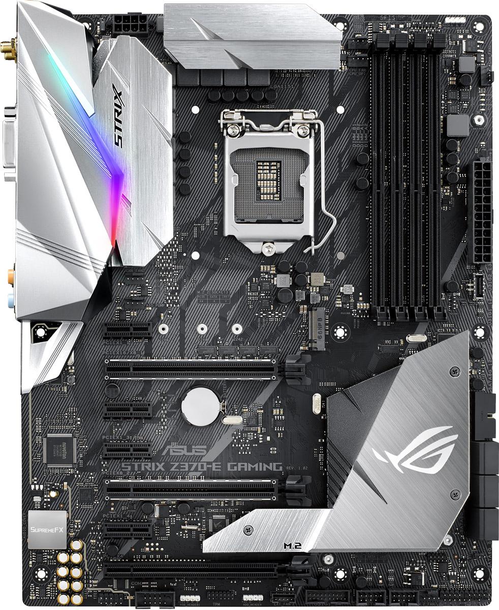 ASUS ROG Strix Z370-E Gaming материнская плата90MB0V40-M0EAY0Смелый и агрессивный дизайн, эксклюзивная функциональность геймерской серии ROG и поддержка новейших процессоров Intel Core восьмого поколения – все это есть у материнских плат ASUS серии ROG Strix Z370, которые готовы предложить своим пользователям высокую производительность, дополненную широкими возможностями по разгону комплектующих. Модель ROG Strix Z370-E Gaming заворожит вас своим высококачественным звуком SupremeFX и красочной подсветкой Aura и превзойдет все ваши ожидания о том, какой скорости можно добиться в современных играх!Созданная для геймеров, которые хотят, чтобы их компьютер выглядел так же прекрасно, как и работал, материнская плата ROG Strix Z370-E Gaming обладает оригинальным дизайном, красочной встроенной подсветкой и поддержкой аксессуаров, печатаемых на 3D-принтере.Модель оснащается встроенной системой подсветки Aura с гибкой регулировкой. Кроме того, к ней можно подключить дополнительные светодиодные ленты и синхронизировать визуальные эффекты с другими Aura-совместимыми устройствами ASUS, чтобы тем самым придать еще большую индивидуальность и яркость своему компьютеру.В чипсетный радиатор, установленный на материнской плате ROG Strix Z370-E Gaming, встроен теплорассеиватель для твердотельного накопителя, который вставляется в слот M.2. Обладая оригинальной формой, он служит еще одним декоративным элементом в облике всего компьютера.Материнская плата ROG Strix Z370-E Gaming предлагает гибкие средства управления системой охлаждения компьютера, которые доступны через интерфейс UEFI BIOS и специальную утилиту Fan Xpert 4.ASUS Pro Clock – это специальный генератор тактовой частоты, позволяющий задавать базовую частоту работы для процессоров Intel Core восьмого поколения на уровне 432 МГц и выше. Дополняя уже знакомый пользователям TPU-чип, он позволяет добиться более высоких результатов при разгоне компьютера.На данной материнской плате используется Ethernet-контроллер Intel I219-V. Се
