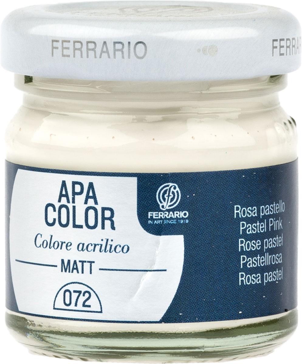 Ferrario Краска акриловая Apa Color цвет розовый пастельныйBA0040А0072Матовая акриловая краска Apa Color итальянской компании Ferrario на водной основе, готова к использованию. Основные качества акриловой краски Apa Color: прочность, светостойкость и экологичность. Благодаря акриловой смоле Apa Color пластична и не дает трещин. Именно поэтому краска прекрасно ложится на любые поверхности, будь то стекло, дерево или ткань, что особенно хорошо в дизайне и декоре. Она быстро сохнет, после высыхания становится водостойкой. Акриловая краска Apa Color не потускнеет со временем, ее светостойкость не позволит измениться цвету, он не выгорит на солнце и не пожелтеет. Акриловая краска Apa Color – это отличный выбор в пользу яркой живописи, так как в ее палитре только глубокие и насыщенные цвета. Из-за того, что акриловая краска Apa Color на водной основе, она почти совсем не пахнет, малотоксична – подходит для работы в помещениях, можно заниматься творчеством вместе с детьми. Акриловая краска Apa Color разводится водой, однако это не значит, что для нее нельзя использовать специальные растворители и медиумы, предназначенные для акриловых красок – в этом случае сохраняется высокая пигментированность, но объем краски увеличивается и появляется возможность создания различных фактур и эффектов. Акриловую краску Apa Color легко наносить кистью, шпателем, валиком.