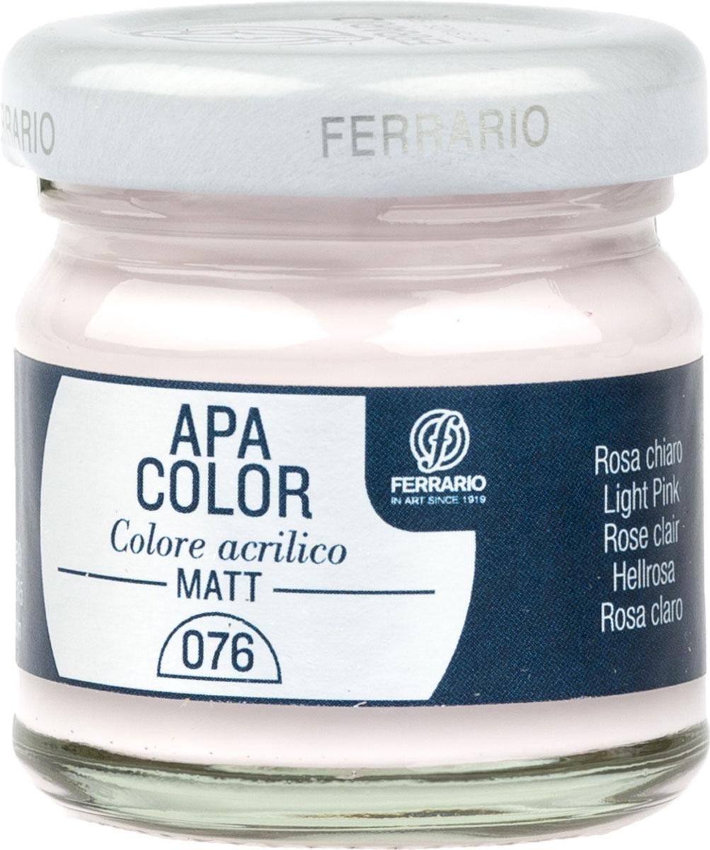 Ferrario Краска акриловая Apa Color цвет розовый светлый BA0040А0076BA0040А0076Матовая акриловая краска Apa Color итальянской компании Ferrario на водной основе, готова к использованию. Основные качества акриловой краски Apa Color: прочность, светостойкость и экологичность. Благодаря акриловой смоле Apa Color пластична и не дает трещин. Именно поэтому краска прекрасно ложится на любые поверхности, будь то стекло, дерево или ткань, что особенно хорошо в дизайне и декоре. Она быстро сохнет, после высыхания становится водостойкой. Акриловая краска Apa Color не потускнеет со временем, ее светостойкость не позволит измениться цвету, он не выгорит на солнце и не пожелтеет. Акриловая краска Apa Color – это отличный выбор в пользу яркой живописи, так как в ее палитре только глубокие и насыщенные цвета. Из-за того, что акриловая краска Apa Color на водной основе, она почти совсем не пахнет, малотоксична – подходит для работы в помещениях, можно заниматься творчеством вместе с детьми. Акриловая краска Apa Color разводится водой, однако это не значит, что для нее нельзя использовать специальные растворители и медиумы, предназначенные для акриловых красок – в этом случае сохраняется высокая пигментированность, но объем краски увеличивается и появляется возможность создания различных фактур и эффектов. Акриловую краску Apa Color легко наносить кистью, шпателем, валиком.