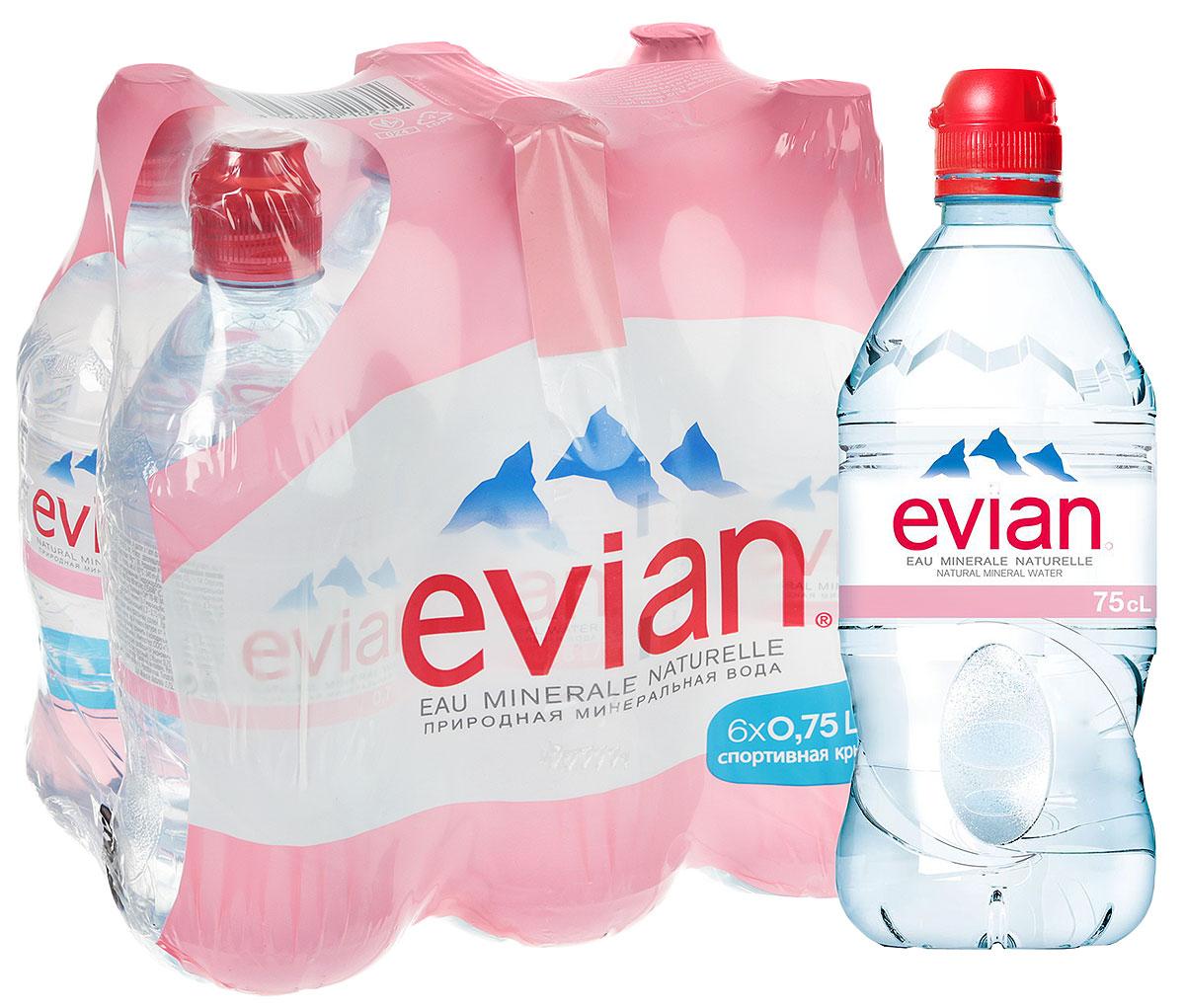 Evian вода минеральная природная столовая негазированная, 6 шт по 0,75 л националь булгур 450 г