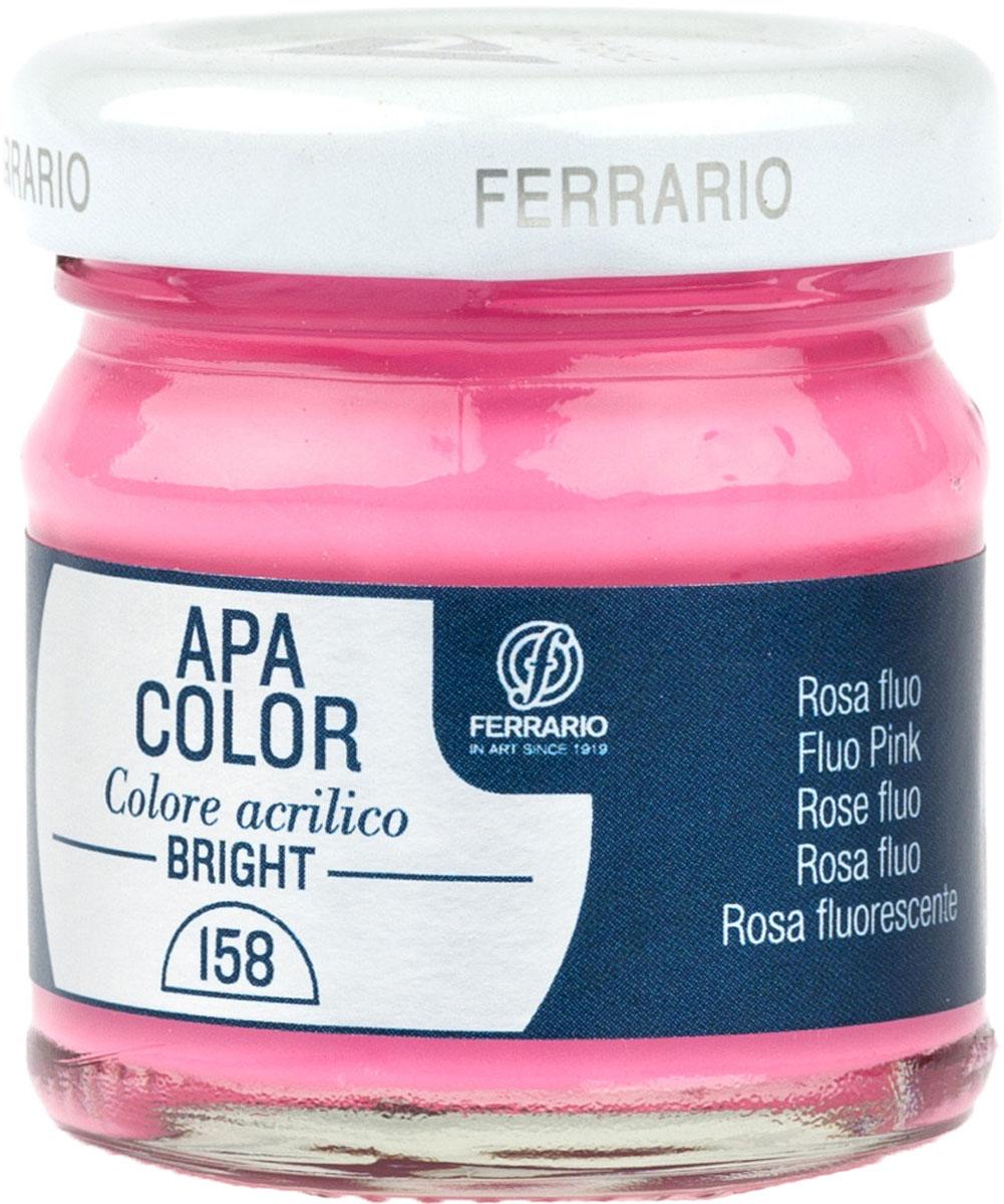 Ferrario Краска акриловая Apa Color цвет розовый флуоресцентныйBA0040С0158Флуоресцентная акриловая краска Apa Color итальянской компании Ferrario на водной основе, готова к использованию. Основные качества акриловой краски Apa Color: прочность, светостойкость и экологичность. Благодаря акриловой смоле Apa Color пластична и не дает трещин. Именно поэтому краска прекрасно ложится на любые поверхности, будь то стекло, дерево или ткань, что особенно хорошо в дизайне и декоре. Она быстро сохнет, после высыхания становится водостойкой. Акриловая краска Apa Color не потускнеет со временем, ее светостойкость не позволит измениться цвету, он не выгорит на солнце и не пожелтеет. Акриловая краска Apa Color – это отличный выбор в пользу яркой живописи, так как в ее палитре только глубокие и насыщенные цвета. Из-за того, что акриловая краска Apa Color на водной основе, она почти совсем не пахнет, малотоксична – подходит для работы в помещениях, можно заниматься творчеством вместе с детьми. Акриловая краска Apa Color разводится водой, однако это не значит, что для нее нельзя использовать специальные растворители и медиумы, предназначенные для акриловых красок – в этом случае сохраняется высокая пигментированность, но объем краски увеличивается и появляется возможность создания различных фактур и эффектов. Акриловую краску Apa Color легко наносить кистью, шпателем, валиком.