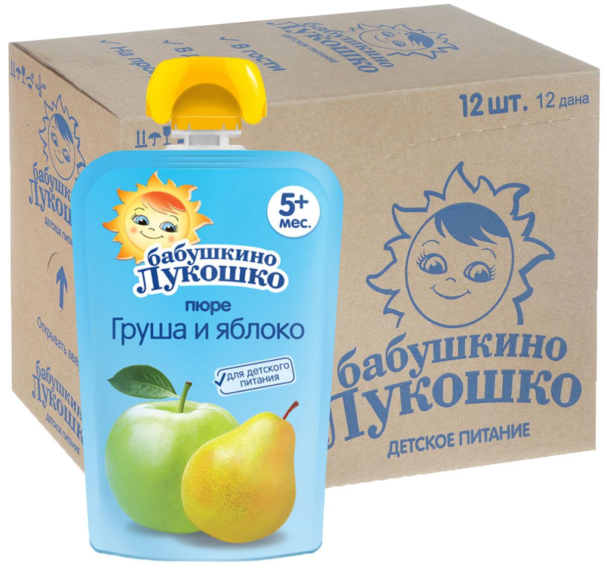 Бабушкино лукошко Груша Яблоко пюре с 5 месяцев, 12 шт по 90 г бабушкино лукошко морковь яблоко пюре с 5 месяцев 100 г 6 шт