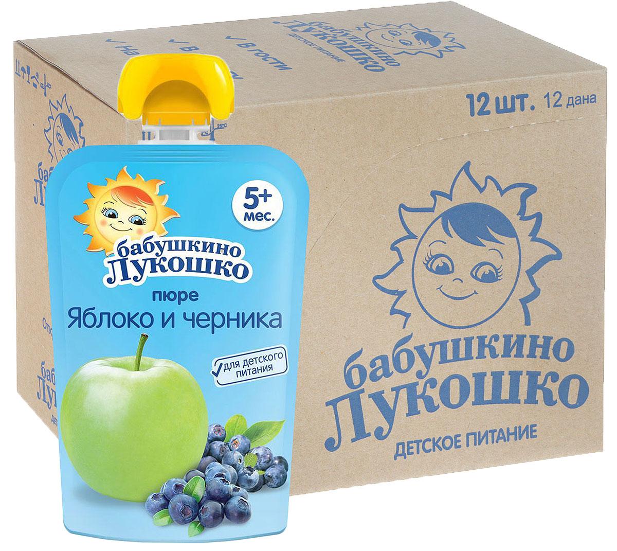 Бабушкино лукошко Яблоко Черника пюре с 5 месяцев, 12 шт по 90 г бабушкино лукошко пюре яблоко слива с 5 мес 100г