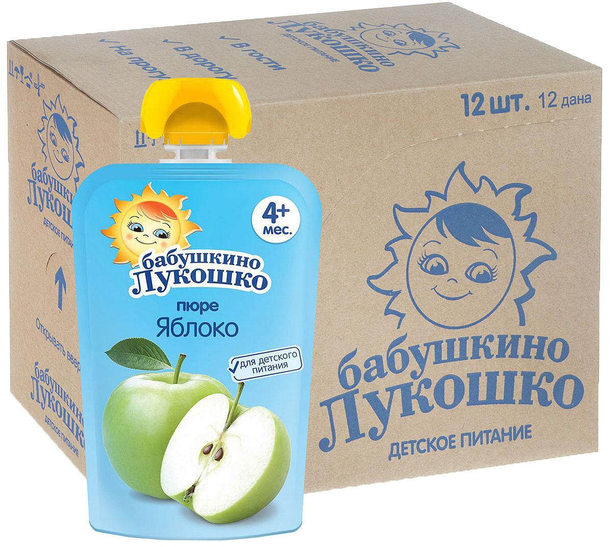 Бабушкино Лукошко Яблоко пюре с 4 месяцев, 12 шт по 90 г пюре бабушкино лукошко яблоко с 4 месяцев 6 шт х 200 г