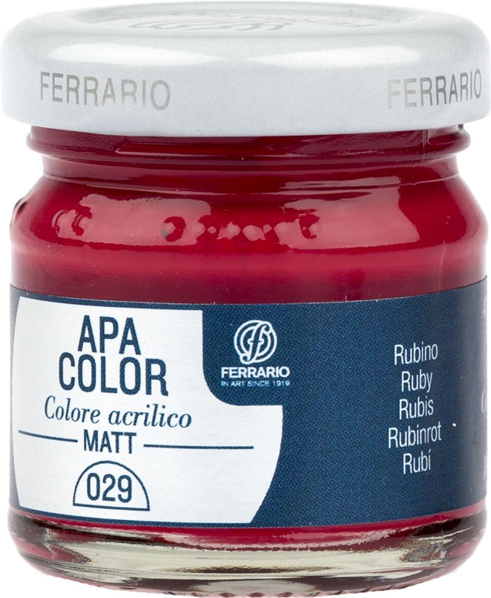 Ferrario Краска акриловая Apa Color цвет рубинBA0040А0029Матовая акриловая краска Apa Color итальянской компании Ferrario на водной основе, готова к использованию. Основные качества акриловой краски Apa Color: прочность, светостойкость и экологичность. Благодаря акриловой смоле Apa Color пластична и не дает трещин. Именно поэтому краска прекрасно ложится на любые поверхности, будь то стекло, дерево или ткань, что особенно хорошо в дизайне и декоре. Она быстро сохнет, после высыхания становится водостойкой. Акриловая краска Apa Color не потускнеет со временем, ее светостойкость не позволит измениться цвету, он не выгорит на солнце и не пожелтеет. Акриловая краска Apa Color – это отличный выбор в пользу яркой живописи, так как в ее палитре только глубокие и насыщенные цвета. Из-за того, что акриловая краска Apa Color на водной основе, она почти совсем не пахнет, малотоксична – подходит для работы в помещениях, можно заниматься творчеством вместе с детьми. Акриловая краска Apa Color разводится водой, однако это не значит, что для нее нельзя использовать специальные растворители и медиумы, предназначенные для акриловых красок – в этом случае сохраняется высокая пигментированность, но объем краски увеличивается и появляется возможность создания различных фактур и эффектов. Акриловую краску Apa Color легко наносить кистью, шпателем, валиком.