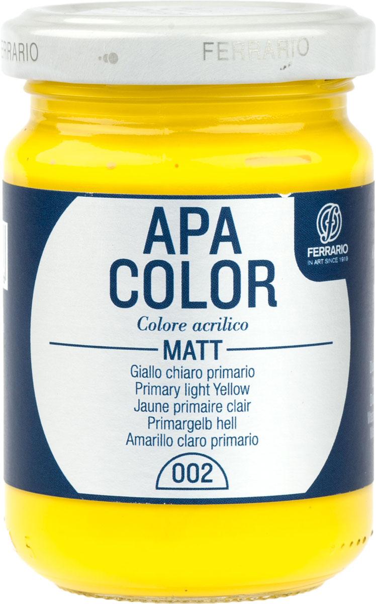 Ferrario Краска акриловая Apa Color цвет светло-желтыйBA0095AO002Матовая акриловая краска Apa Color итальянской компании Ferrario на водной основе, готова к использованию. Основные качества акриловой краски Apa Color: прочность, светостойкость и экологичность. Благодаря акриловой смоле Apa Color пластична и не дает трещин. Именно поэтому краска прекрасно ложится на любые поверхности, будь то стекло, дерево или ткань, что особенно хорошо в дизайне и декоре. Она быстро сохнет, после высыхания становится водостойкой. Акриловая краска Apa Color не потускнеет со временем, ее светостойкость не позволит измениться цвету, он не выгорит на солнце и не пожелтеет. Акриловая краска Apa Color – это отличный выбор в пользу яркой живописи, так как в ее палитре только глубокие и насыщенные цвета. Из-за того, что акриловая краска Apa Color на водной основе, она почти совсем не пахнет, малотоксична – подходит для работы в помещениях, можно заниматься творчеством вместе с детьми. Акриловая краска Apa Color разводится водой, однако это не значит, что для нее нельзя использовать специальные растворители и медиумы, предназначенные для акриловых красок – в этом случае сохраняется высокая пигментированность, но объем краски увеличивается и появляется возможность создания различных фактур и эффектов. Акриловую краску Apa Color легко наносить кистью, шпателем, валиком.