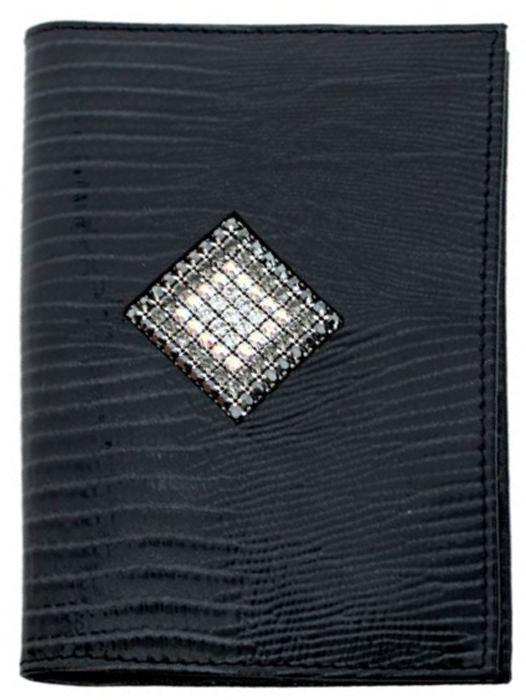 Обложка для автодокументов женская Krystall, цвет: серый, черный. 0-559(СВ)Натуральная кожаОригинальные кристаллы Swarovski.