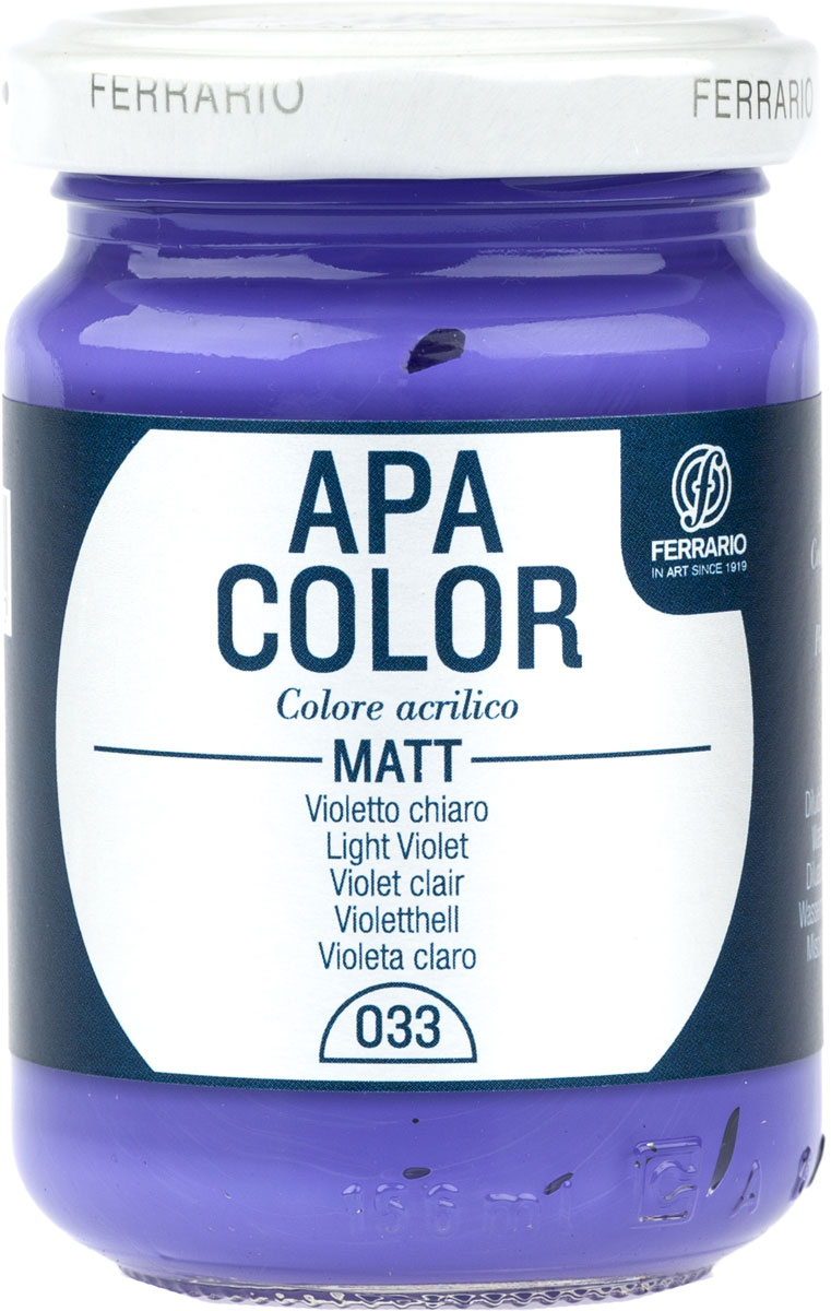 Ferrario Краска акриловая Apa Color цвет светло-фиолетовыйBA0095AO033Матовая акриловая краска Apa Color итальянской компании Ferrario на водной основе, готова к использованию. Основные качества акриловой краски Apa Color: прочность, светостойкость и экологичность. Благодаря акриловой смоле Apa Color пластична и не дает трещин. Именно поэтому краска прекрасно ложится на любые поверхности, будь то стекло, дерево или ткань, что особенно хорошо в дизайне и декоре. Она быстро сохнет, после высыхания становится водостойкой. Акриловая краска Apa Color не потускнеет со временем, ее светостойкость не позволит измениться цвету, он не выгорит на солнце и не пожелтеет. Акриловая краска Apa Color – это отличный выбор в пользу яркой живописи, так как в ее палитре только глубокие и насыщенные цвета. Из-за того, что акриловая краска Apa Color на водной основе, она почти совсем не пахнет, малотоксична – подходит для работы в помещениях, можно заниматься творчеством вместе с детьми. Акриловая краска Apa Color разводится водой, однако это не значит, что для нее нельзя использовать специальные растворители и медиумы, предназначенные для акриловых красок – в этом случае сохраняется высокая пигментированность, но объем краски увеличивается и появляется возможность создания различных фактур и эффектов. Акриловую краску Apa Color легко наносить кистью, шпателем, валиком.