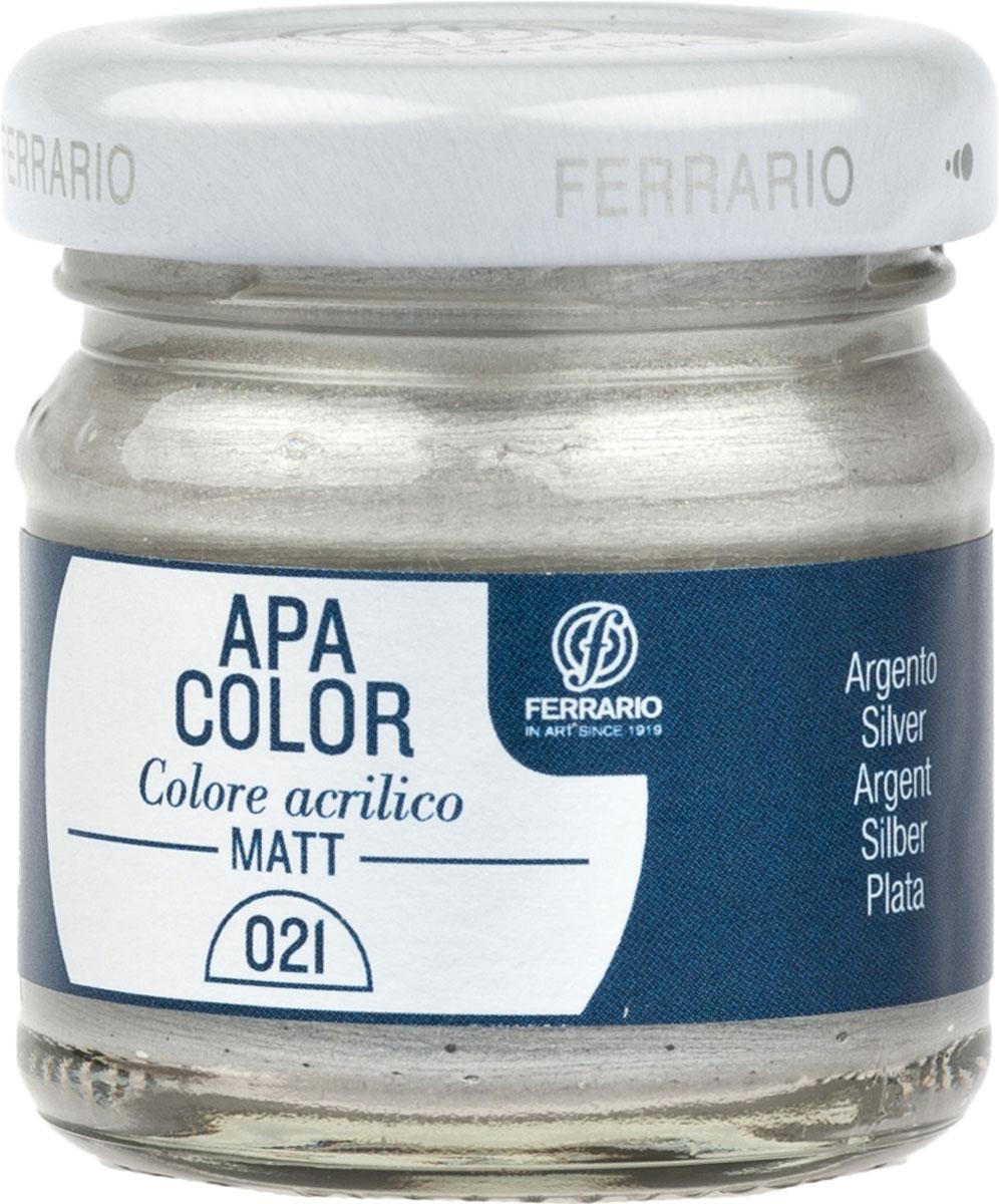 Ferrario Краска акриловая Apa Color цвет серебро BA0040А0021BA0040А0021Матовая акриловая краска Apa Color итальянской компании Ferrario на водной основе, готова к использованию. Основные качества акриловой краски Apa Color: прочность, светостойкость и экологичность. Благодаря акриловой смоле Apa Color пластична и не дает трещин. Именно поэтому краска прекрасно ложится на любые поверхности, будь то стекло, дерево или ткань, что особенно хорошо в дизайне и декоре. Она быстро сохнет, после высыхания становится водостойкой. Акриловая краска Apa Color не потускнеет со временем, ее светостойкость не позволит измениться цвету, он не выгорит на солнце и не пожелтеет. Акриловая краска Apa Color – это отличный выбор в пользу яркой живописи, так как в ее палитре только глубокие и насыщенные цвета. Из-за того, что акриловая краска Apa Color на водной основе, она почти совсем не пахнет, малотоксична – подходит для работы в помещениях, можно заниматься творчеством вместе с детьми. Акриловая краска Apa Color разводится водой, однако это не значит, что для нее нельзя использовать специальные растворители и медиумы, предназначенные для акриловых красок – в этом случае сохраняется высокая пигментированность, но объем краски увеличивается и появляется возможность создания различных фактур и эффектов. Акриловую краску Apa Color легко наносить кистью, шпателем, валиком.