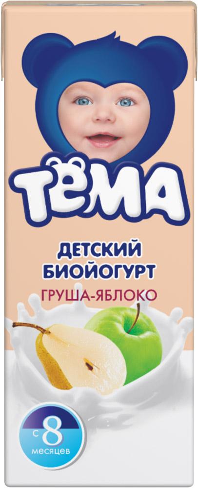 Тема Биойогурт питьевой Груша яблоко 2,8%, 210 г82672Биойогурт Тёма детский Груша-Яблоко с 8 месяцев обогащенный бифидобактериями.
