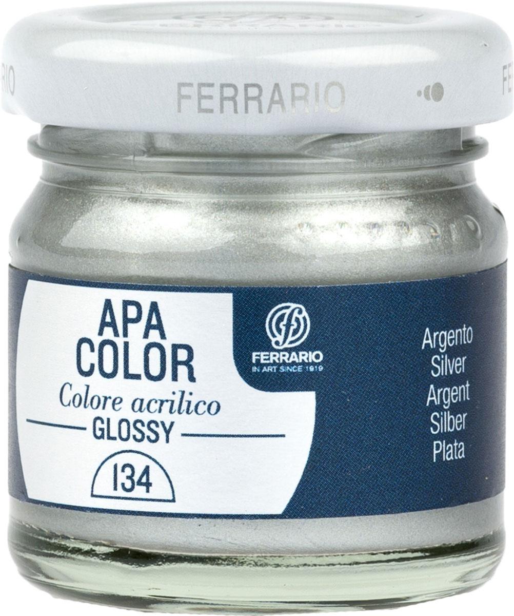 Ferrario Краска акриловая Apa Color цвет серебро BA0040В0134BA0040В0134Глянцевая акриловая краска Apa Color итальянской компании Ferrario на водной основе, готова к использованию. Основные качества акриловой краски Apa Color: прочность, светостойкость и экологичность. Благодаря акриловой смоле Apa Color пластична и не дает трещин. Именно поэтому краска прекрасно ложится на любые поверхности, будь то стекло, дерево или ткань, что особенно хорошо в дизайне и декоре. Она быстро сохнет, после высыхания становится водостойкой. Акриловая краска Apa Color не потускнеет со временем, ее светостойкость не позволит измениться цвету, он не выгорит на солнце и не пожелтеет. Акриловая краска Apa Color – это отличный выбор в пользу яркой живописи, так как в ее палитре только глубокие и насыщенные цвета. Из-за того, что акриловая краска Apa Color на водной основе, она почти совсем не пахнет, малотоксична – подходит для работы в помещениях, можно заниматься творчеством вместе с детьми. Акриловая краска Apa Color разводится водой, однако это не значит, что для нее нельзя использовать специальные растворители и медиумы, предназначенные для акриловых красок – в этом случае сохраняется высокая пигментированность, но объем краски увеличивается и появляется возможность создания различных фактур и эффектов. Акриловую краску Apa Color легко наносить кистью, шпателем, валиком.