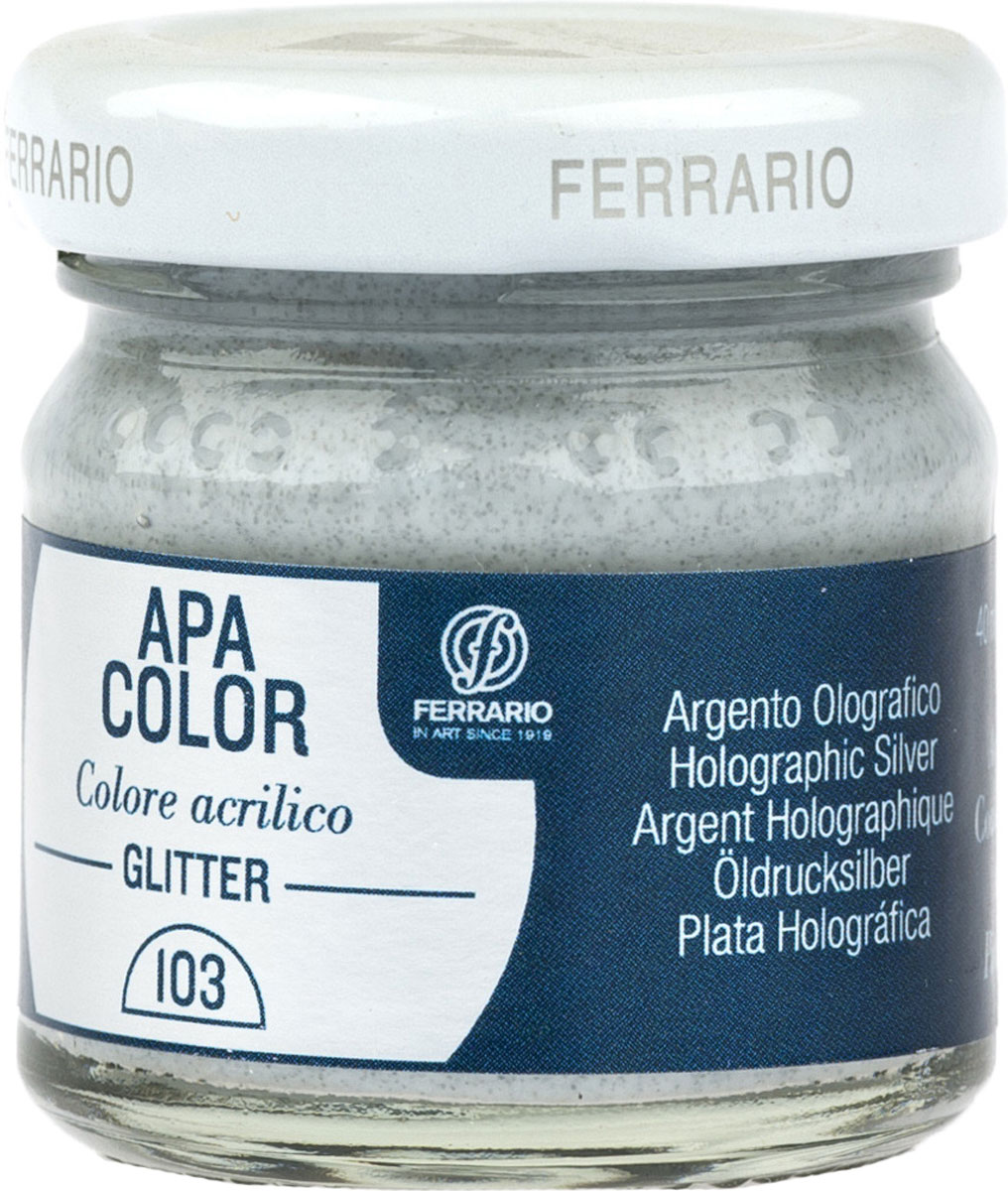 Ferrario Краска акриловая Apa Color цвет серебро глянцевое с глиттерамиBA0040В0103Акриловая краска Apa Color с глиттерами итальянской компании Ferrario на водной основе, готова к использованию. Основные качества акриловой краски Apa Color: прочность, светостойкость и экологичность. Благодаря акриловой смоле Apa Color пластична и не дает трещин. Именно поэтому краска прекрасно ложится на любые поверхности, будь то стекло, дерево или ткань, что особенно хорошо в дизайне и декоре. Она быстро сохнет, после высыхания становится водостойкой. Акриловая краска Apa Color не потускнеет со временем, ее светостойкость не позволит измениться цвету, он не выгорит на солнце и не пожелтеет. Акриловая краска Apa Color – это отличный выбор в пользу яркой живописи, так как в ее палитре только глубокие и насыщенные цвета. Из-за того, что акриловая краска Apa Color на водной основе, она почти совсем не пахнет, малотоксична – подходит для работы в помещениях, можно заниматься творчеством вместе с детьми. Акриловая краска Apa Color разводится водой, однако это не значит, что для нее нельзя использовать специальные растворители и медиумы, предназначенные для акриловых красок – в этом случае сохраняется высокая пигментированность, но объем краски увеличивается и появляется возможность создания различных фактур и эффектов. Акриловую краску Apa Color легко наносить кистью, шпателем, валиком.