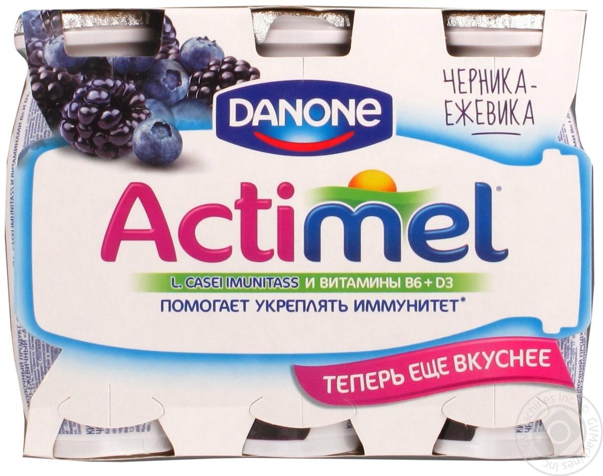 Актимель Продукт кисломолочный, Черника ежевика 2,5%, 6 шт по 100 г21139Напиток Actimel Черника-ежевика - это уникальный кисломолочный продукт с ягодным вкусом, в котором помимо пробиотиков содержатся особые лактобактерии L.Casei Imunitass и витамины B6 и D3, повышающие иммунитет.
