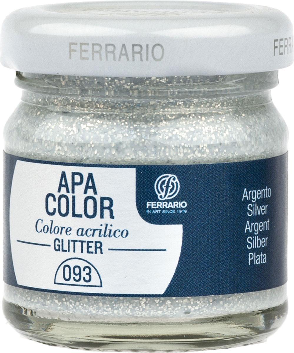 Ferrario Краска акриловая Apa Color цвет серебро с глиттерамиBA0040В0093Акриловая краска Apa Color с глиттерами итальянской компании Ferrario на водной основе, готова к использованию. Основные качества акриловой краски Apa Color: прочность, светостойкость и экологичность. Благодаря акриловой смоле Apa Color пластична и не дает трещин. Именно поэтому краска прекрасно ложится на любые поверхности, будь то стекло, дерево или ткань, что особенно хорошо в дизайне и декоре. Она быстро сохнет, после высыхания становится водостойкой. Акриловая краска Apa Color не потускнеет со временем, ее светостойкость не позволит измениться цвету, он не выгорит на солнце и не пожелтеет. Акриловая краска Apa Color – это отличный выбор в пользу яркой живописи, так как в ее палитре только глубокие и насыщенные цвета. Из-за того, что акриловая краска Apa Color на водной основе, она почти совсем не пахнет, малотоксична – подходит для работы в помещениях, можно заниматься творчеством вместе с детьми. Акриловая краска Apa Color разводится водой, однако это не значит, что для нее нельзя использовать специальные растворители и медиумы, предназначенные для акриловых красок – в этом случае сохраняется высокая пигментированность, но объем краски увеличивается и появляется возможность создания различных фактур и эффектов. Акриловую краску Apa Color легко наносить кистью, шпателем, валиком.
