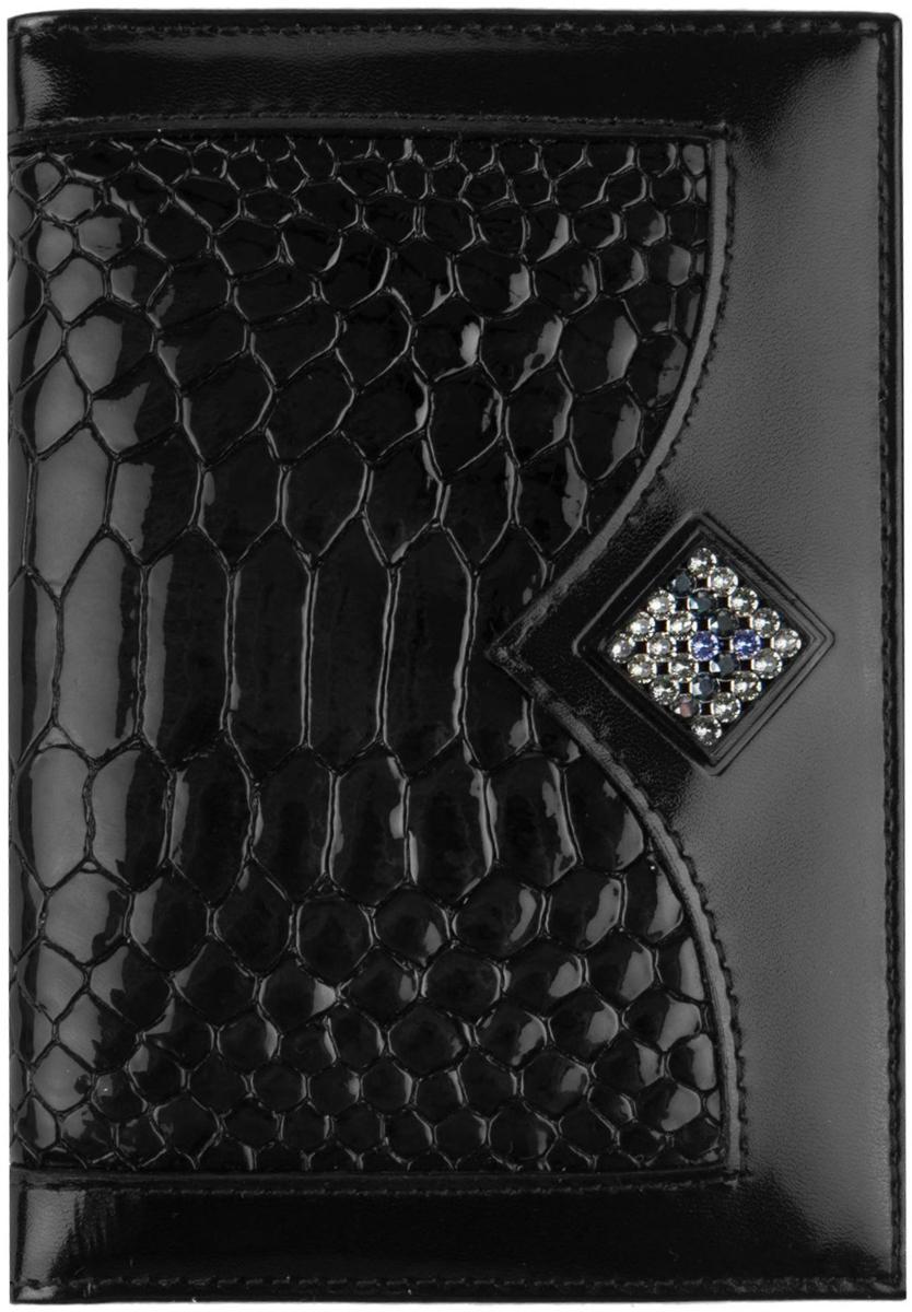 Обложка для автодокументов женская Krystall, цвет: черный. 0-599(СВ)0-599(СВ)Оригинальные кристаллы Swarovski.