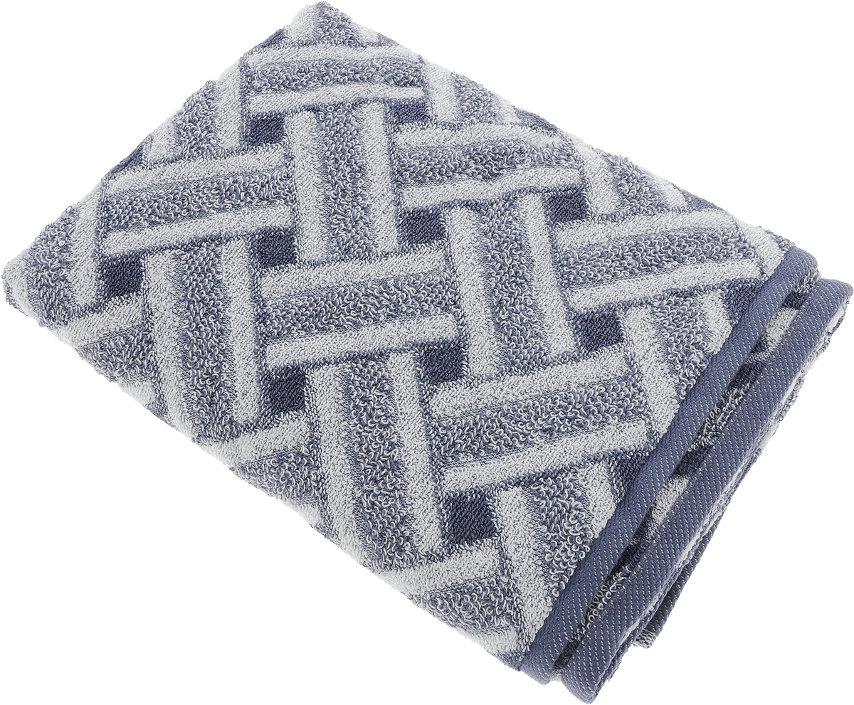 Полотенце банное Aquarelle Бостон 2, цвет: белый, маренго, 70 х 140 см полотенце банное pupilla lamond dray 70 140 см