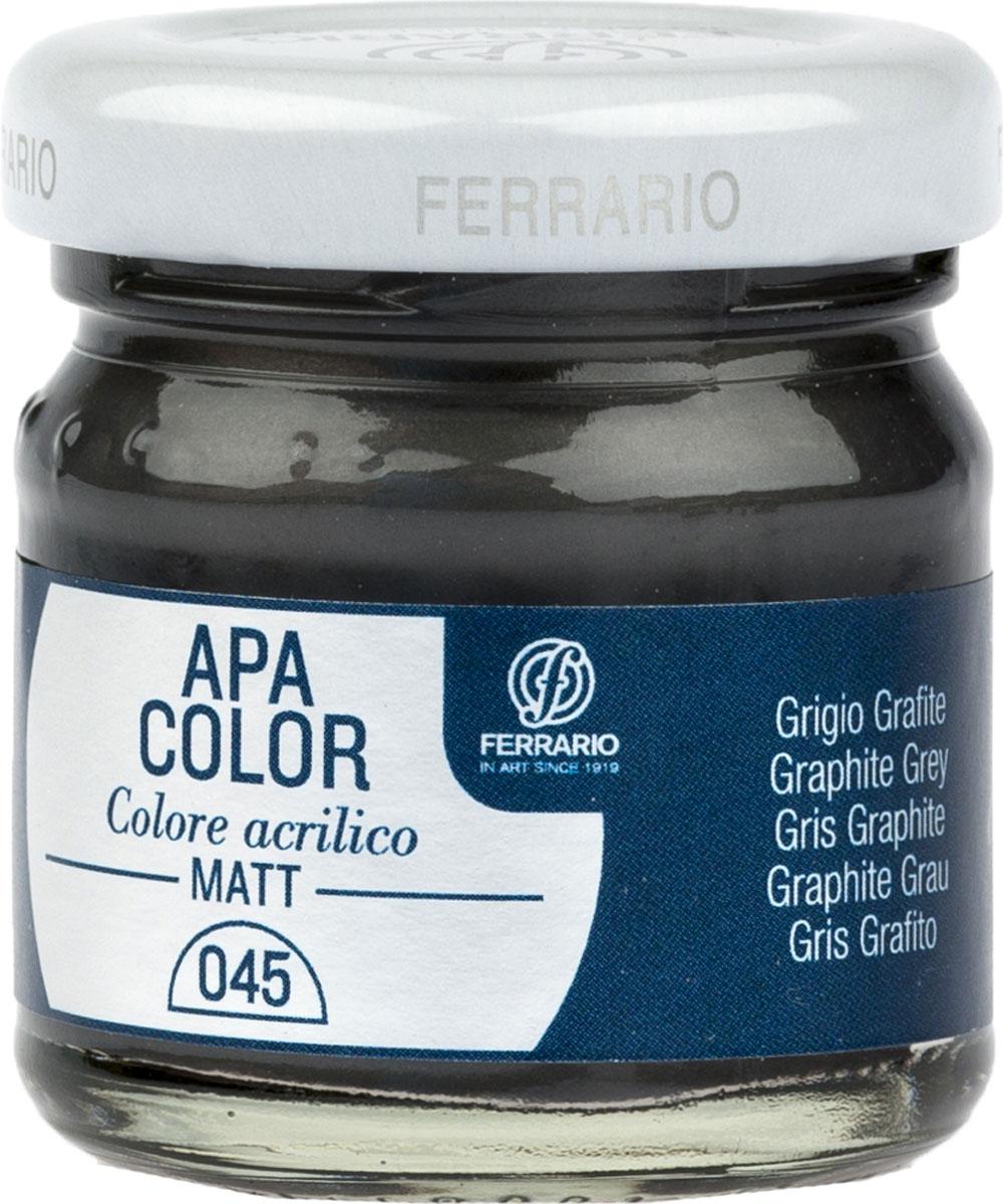 Ferrario Краска акриловая Apa Color цвет серый графит BA0040А0045BA0040А0045Матовая акриловая краска Apa Color итальянской компании Ferrario на водной основе, готова к использованию. Основные качества акриловой краски Apa Color: прочность, светостойкость и экологичность. Благодаря акриловой смоле Apa Color пластична и не дает трещин. Именно поэтому краска прекрасно ложится на любые поверхности, будь то стекло, дерево или ткань, что особенно хорошо в дизайне и декоре. Она быстро сохнет, после высыхания становится водостойкой. Акриловая краска Apa Color не потускнеет со временем, ее светостойкость не позволит измениться цвету, он не выгорит на солнце и не пожелтеет. Акриловая краска Apa Color – это отличный выбор в пользу яркой живописи, так как в ее палитре только глубокие и насыщенные цвета. Из-за того, что акриловая краска Apa Color на водной основе, она почти совсем не пахнет, малотоксична – подходит для работы в помещениях, можно заниматься творчеством вместе с детьми. Акриловая краска Apa Color разводится водой, однако это не значит, что для нее нельзя использовать специальные растворители и медиумы, предназначенные для акриловых красок – в этом случае сохраняется высокая пигментированность, но объем краски увеличивается и появляется возможность создания различных фактур и эффектов. Акриловую краску Apa Color легко наносить кистью, шпателем, валиком.
