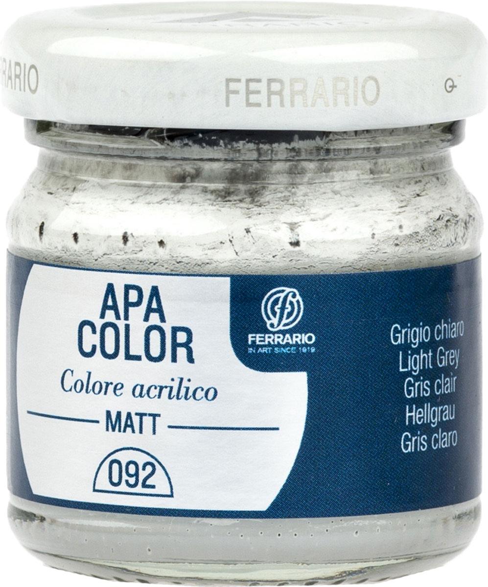 Ferrario Краска акриловая Apa Color цвет серый светлыйBA0040А0092Матовая акриловая краска Apa Color итальянской компании Ferrario на водной основе, готова к использованию. Основные качества акриловой краски Apa Color: прочность, светостойкость и экологичность. Благодаря акриловой смоле Apa Color пластична и не дает трещин. Именно поэтому краска прекрасно ложится на любые поверхности, будь то стекло, дерево или ткань, что особенно хорошо в дизайне и декоре. Она быстро сохнет, после высыхания становится водостойкой. Акриловая краска Apa Color не потускнеет со временем, ее светостойкость не позволит измениться цвету, он не выгорит на солнце и не пожелтеет. Акриловая краска Apa Color – это отличный выбор в пользу яркой живописи, так как в ее палитре только глубокие и насыщенные цвета. Из-за того, что акриловая краска Apa Color на водной основе, она почти совсем не пахнет, малотоксична – подходит для работы в помещениях, можно заниматься творчеством вместе с детьми. Акриловая краска Apa Color разводится водой, однако это не значит, что для нее нельзя использовать специальные растворители и медиумы, предназначенные для акриловых красок – в этом случае сохраняется высокая пигментированность, но объем краски увеличивается и появляется возможность создания различных фактур и эффектов. Акриловую краску Apa Color легко наносить кистью, шпателем, валиком.