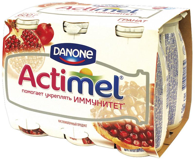 Актимель Продукт кисломолочный, Гранат 2,5%, 6 шт по 90 г Актимель