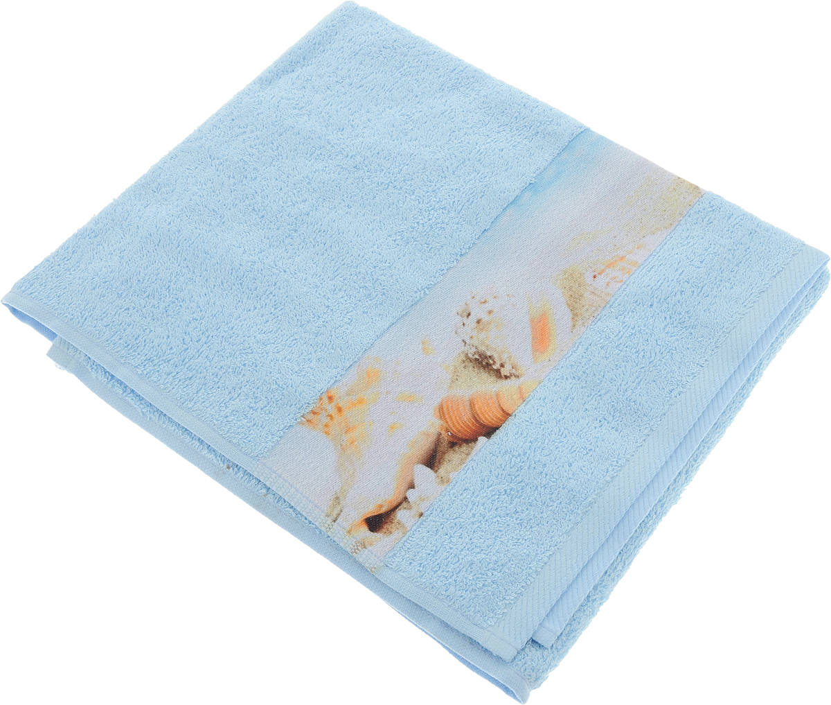 Полотенце банное Aquarelle Фотобордюр. Ракушки 1, цвет: васильковый, 50 х 90 см полотенце махровое aquarelle таллин 1 цвет ваниль 50 х 90 см 707762