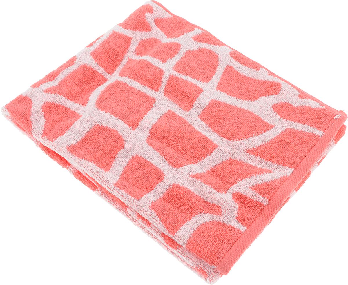 Полотенце Aquarelle Мадагаскар. Жираф, цвет: белый, коралловый, 50 х 90 см полотенце махровое aquarelle таллин 1 цвет ваниль 50 х 90 см 707762