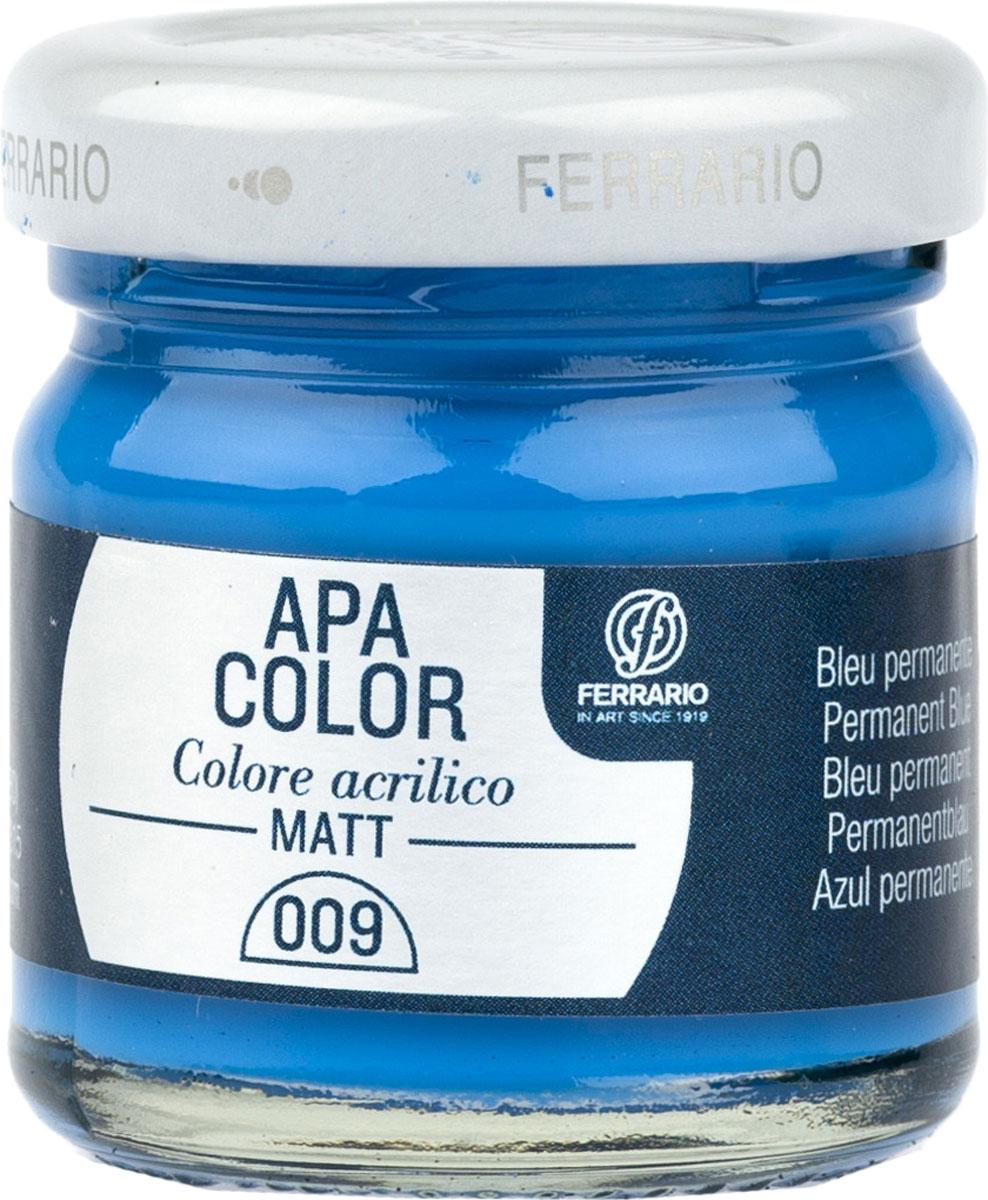 Ferrario Краска акриловая Apa Color цвет синий перманентBA0040А0009Матовая акриловая краска Apa Color итальянской компании Ferrario на водной основе, готова к использованию. Основные качества акриловой краски Apa Color: прочность, светостойкость и экологичность. Благодаря акриловой смоле Apa Color пластична и не дает трещин. Именно поэтому краска прекрасно ложится на любые поверхности, будь то стекло, дерево или ткань, что особенно хорошо в дизайне и декоре. Она быстро сохнет, после высыхания становится водостойкой. Акриловая краска Apa Color не потускнеет со временем, ее светостойкость не позволит измениться цвету, он не выгорит на солнце и не пожелтеет. Акриловая краска Apa Color – это отличный выбор в пользу яркой живописи, так как в ее палитре только глубокие и насыщенные цвета. Из-за того, что акриловая краска Apa Color на водной основе, она почти совсем не пахнет, малотоксична – подходит для работы в помещениях, можно заниматься творчеством вместе с детьми. Акриловая краска Apa Color разводится водой, однако это не значит, что для нее нельзя использовать специальные растворители и медиумы, предназначенные для акриловых красок – в этом случае сохраняется высокая пигментированность, но объем краски увеличивается и появляется возможность создания различных фактур и эффектов. Акриловую краску Apa Color легко наносить кистью, шпателем, валиком.