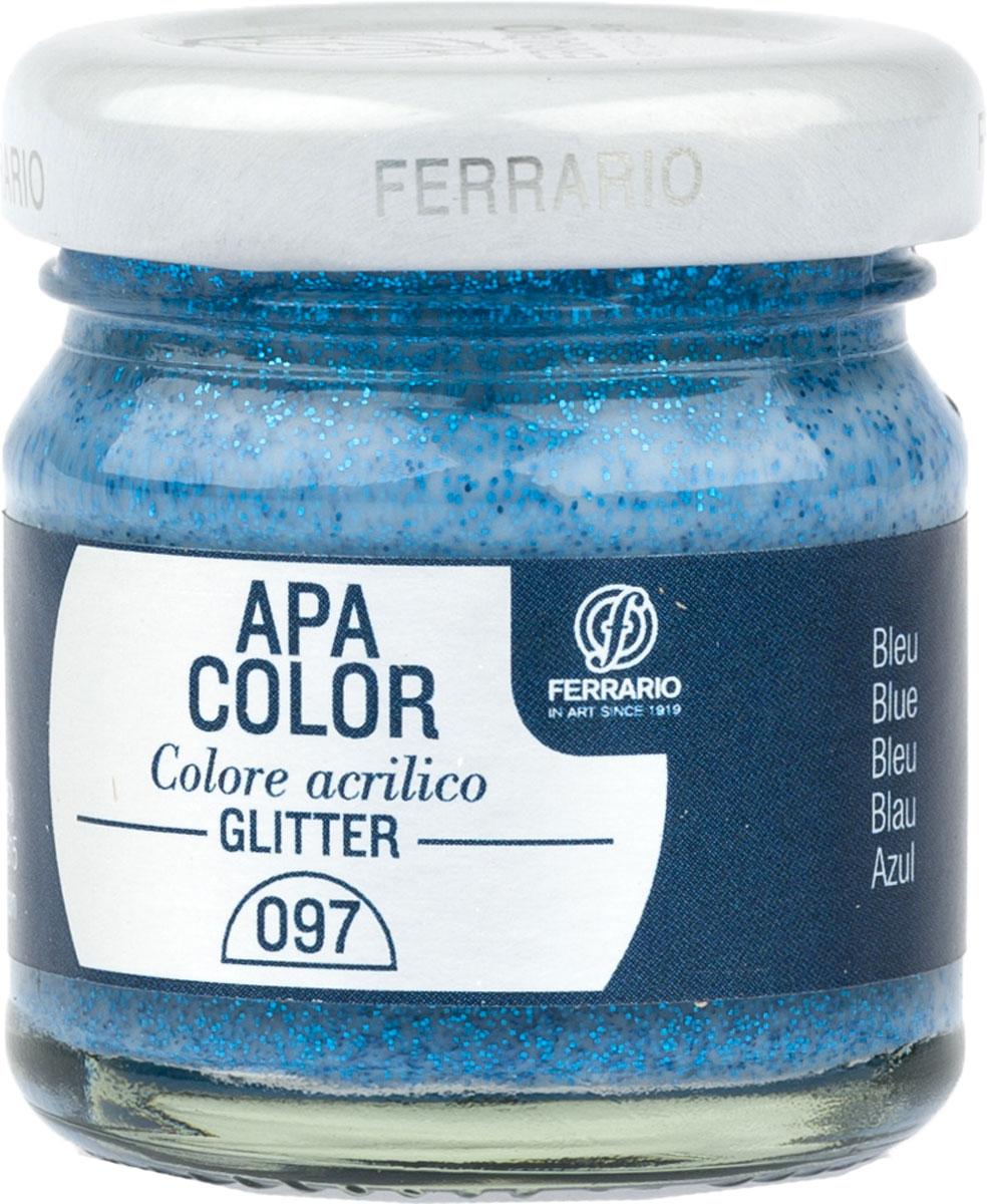 Ferrario Краска акриловая Apa Color цвет синий с глиттерамиBA0040В0097Акриловая краска Apa Color с глиттерами итальянской компании Ferrario на водной основе, готова к использованию. Основные качества акриловой краски Apa Color: прочность, светостойкость и экологичность. Благодаря акриловой смоле Apa Color пластична и не дает трещин. Именно поэтому краска прекрасно ложится на любые поверхности, будь то стекло, дерево или ткань, что особенно хорошо в дизайне и декоре. Она быстро сохнет, после высыхания становится водостойкой. Акриловая краска Apa Color не потускнеет со временем, ее светостойкость не позволит измениться цвету, он не выгорит на солнце и не пожелтеет. Акриловая краска Apa Color – это отличный выбор в пользу яркой живописи, так как в ее палитре только глубокие и насыщенные цвета. Из-за того, что акриловая краска Apa Color на водной основе, она почти совсем не пахнет, малотоксична – подходит для работы в помещениях, можно заниматься творчеством вместе с детьми. Акриловая краска Apa Color разводится водой, однако это не значит, что для нее нельзя использовать специальные растворители и медиумы, предназначенные для акриловых красок – в этом случае сохраняется высокая пигментированность, но объем краски увеличивается и появляется возможность создания различных фактур и эффектов. Акриловую краску Apa Color легко наносить кистью, шпателем, валиком.