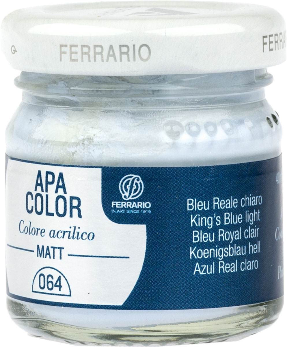 Ferrario Краска акриловая Apa Color цвет синий светлый BA0040А0064BA0040А0064Матовая акриловая краска Apa Color итальянской компании Ferrario на водной основе, готова к использованию. Основные качества акриловой краски Apa Color: прочность, светостойкость и экологичность. Благодаря акриловой смоле Apa Color пластична и не дает трещин. Именно поэтому краска прекрасно ложится на любые поверхности, будь то стекло, дерево или ткань, что особенно хорошо в дизайне и декоре. Она быстро сохнет, после высыхания становится водостойкой. Акриловая краска Apa Color не потускнеет со временем, ее светостойкость не позволит измениться цвету, он не выгорит на солнце и не пожелтеет. Акриловая краска Apa Color – это отличный выбор в пользу яркой живописи, так как в ее палитре только глубокие и насыщенные цвета. Из-за того, что акриловая краска Apa Color на водной основе, она почти совсем не пахнет, малотоксична – подходит для работы в помещениях, можно заниматься творчеством вместе с детьми. Акриловая краска Apa Color разводится водой, однако это не значит, что для нее нельзя использовать специальные растворители и медиумы, предназначенные для акриловых красок – в этом случае сохраняется высокая пигментированность, но объем краски увеличивается и появляется возможность создания различных фактур и эффектов. Акриловую краску Apa Color легко наносить кистью, шпателем, валиком.