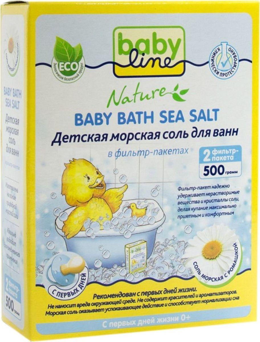 BabyLine Nature Детская морская соль для ванн с ромашкой 500 гDN 85Натуральная без добавок и красителей. Обогащает воду минералами, необходимыми для здоровья ребенка. Солевые ванночки снимают раздражение и зуд с нежной детской кожи, способствуют повышению иммунитета и общему укреплению организма, оказывают успокаивающее действие и прекрасно подготавливают ребенка ко сну. Фильтр-пакет надежно удерживает нерастворимые вещества и кристаллы соли, делая купание максимально приятным и комфортным. Подходит для ежедневного купания.
