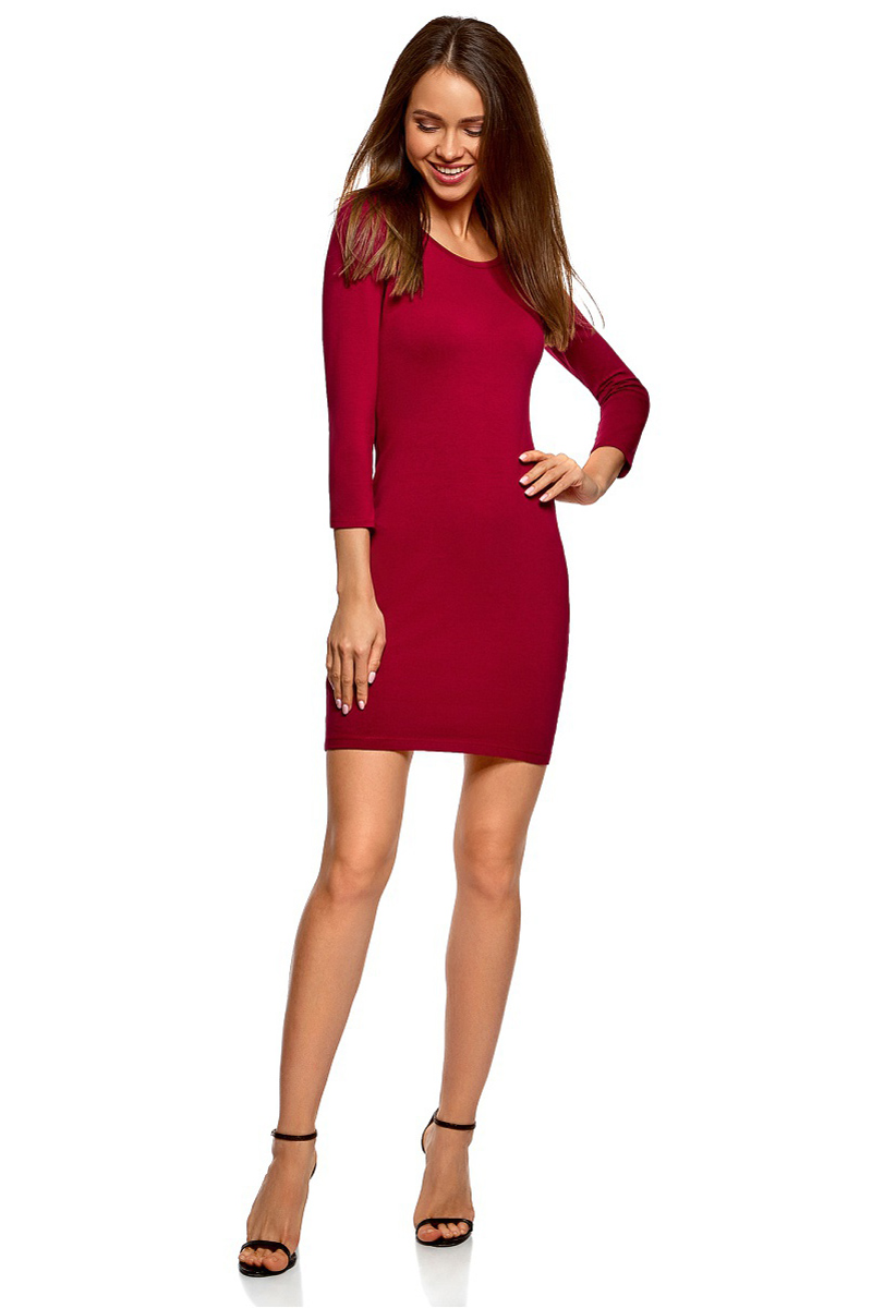 Платье oodji Ultra, цвет: бордовый. 14001193B/47420/4900N. Размер L (48) платье oodji ultra цвет черный 14015017 1b 48470 2900n размер l 48