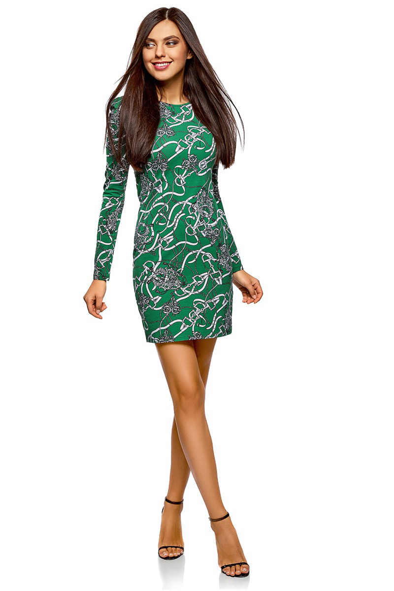 Платье oodji Ultra, цвет: зеленый, серый. 14000171/46148/6223O. Размер M (46)14000171/46148/6223OСтильное платье от oodji выполнено из эластичного хлопкового трикотажа. Модель облегающего силуэта с длинными рукавами и круглым вырезом горловины.