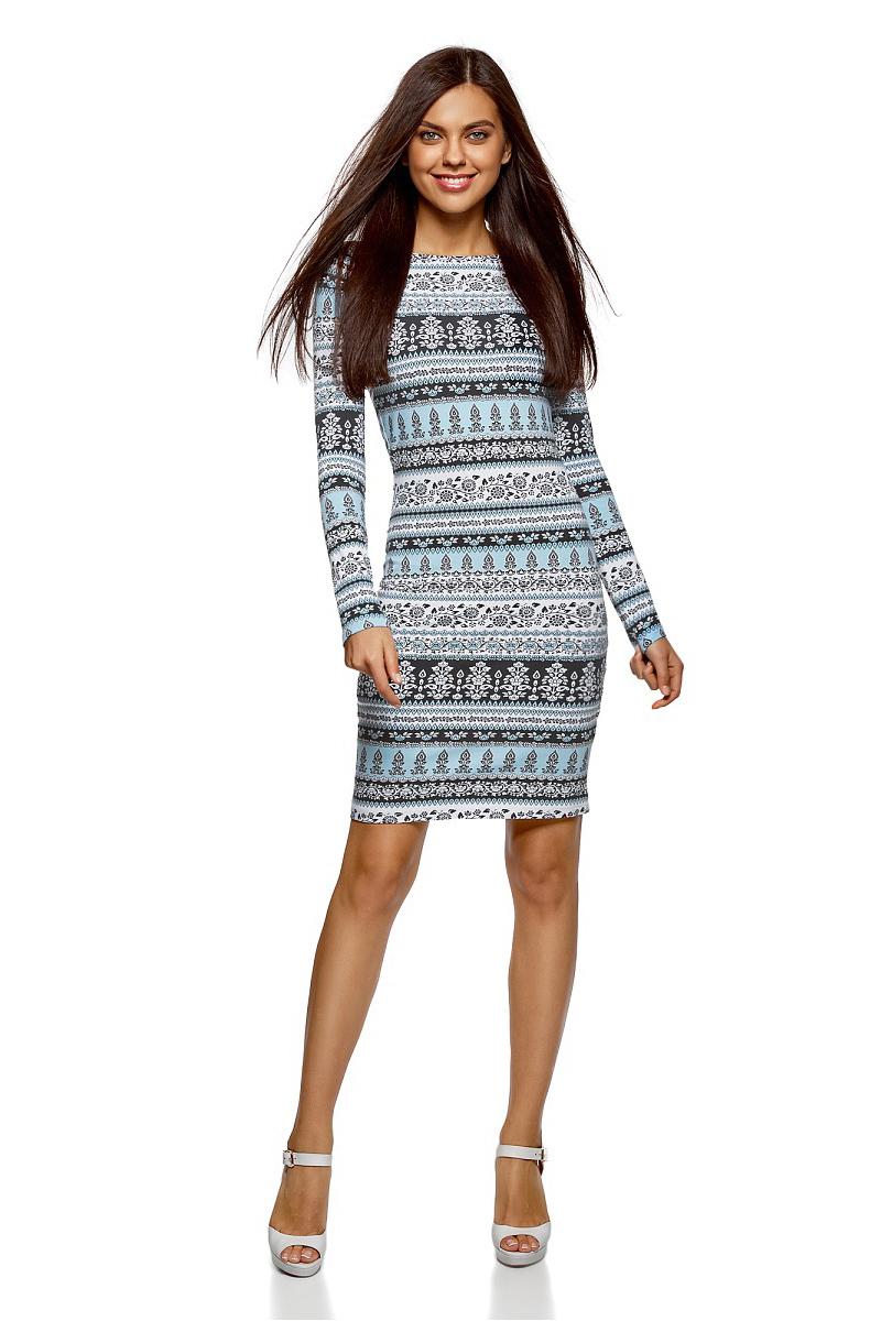 Платье oodji Ultra, цвет: ментол, белый. 14001183/46148/6510E. Размер S (44)14001183/46148/6510EСтильное мини-платье от oodji выполнено из эластичного хлопкового трикотажа. Модель приталенного кроя с длинными рукавами и круглым вырезом горловины.
