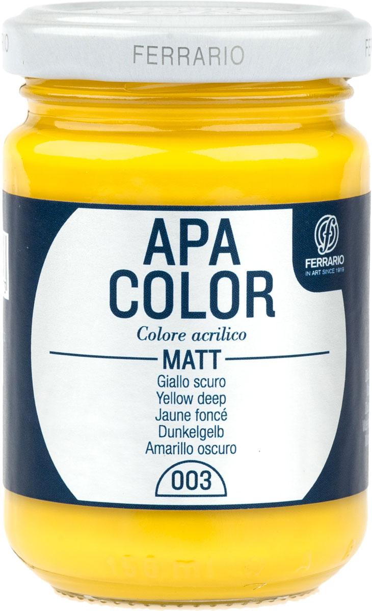 Ferrario Краска акриловая Apa Color цвет темно-желтыйBA0095AO003Матовая акриловая краска Apa Color итальянской компании Ferrario на водной основе, готова к использованию. Основные качества акриловой краски Apa Color: прочность, светостойкость и экологичность. Благодаря акриловой смоле Apa Color пластична и не дает трещин. Именно поэтому краска прекрасно ложится на любые поверхности, будь то стекло, дерево или ткань, что особенно хорошо в дизайне и декоре. Она быстро сохнет, после высыхания становится водостойкой. Акриловая краска Apa Color не потускнеет со временем, ее светостойкость не позволит измениться цвету, он не выгорит на солнце и не пожелтеет. Акриловая краска Apa Color – это отличный выбор в пользу яркой живописи, так как в ее палитре только глубокие и насыщенные цвета. Из-за того, что акриловая краска Apa Color на водной основе, она почти совсем не пахнет, малотоксична – подходит для работы в помещениях, можно заниматься творчеством вместе с детьми. Акриловая краска Apa Color разводится водой, однако это не значит, что для нее нельзя использовать специальные растворители и медиумы, предназначенные для акриловых красок – в этом случае сохраняется высокая пигментированность, но объем краски увеличивается и появляется возможность создания различных фактур и эффектов. Акриловую краску Apa Color легко наносить кистью, шпателем, валиком.