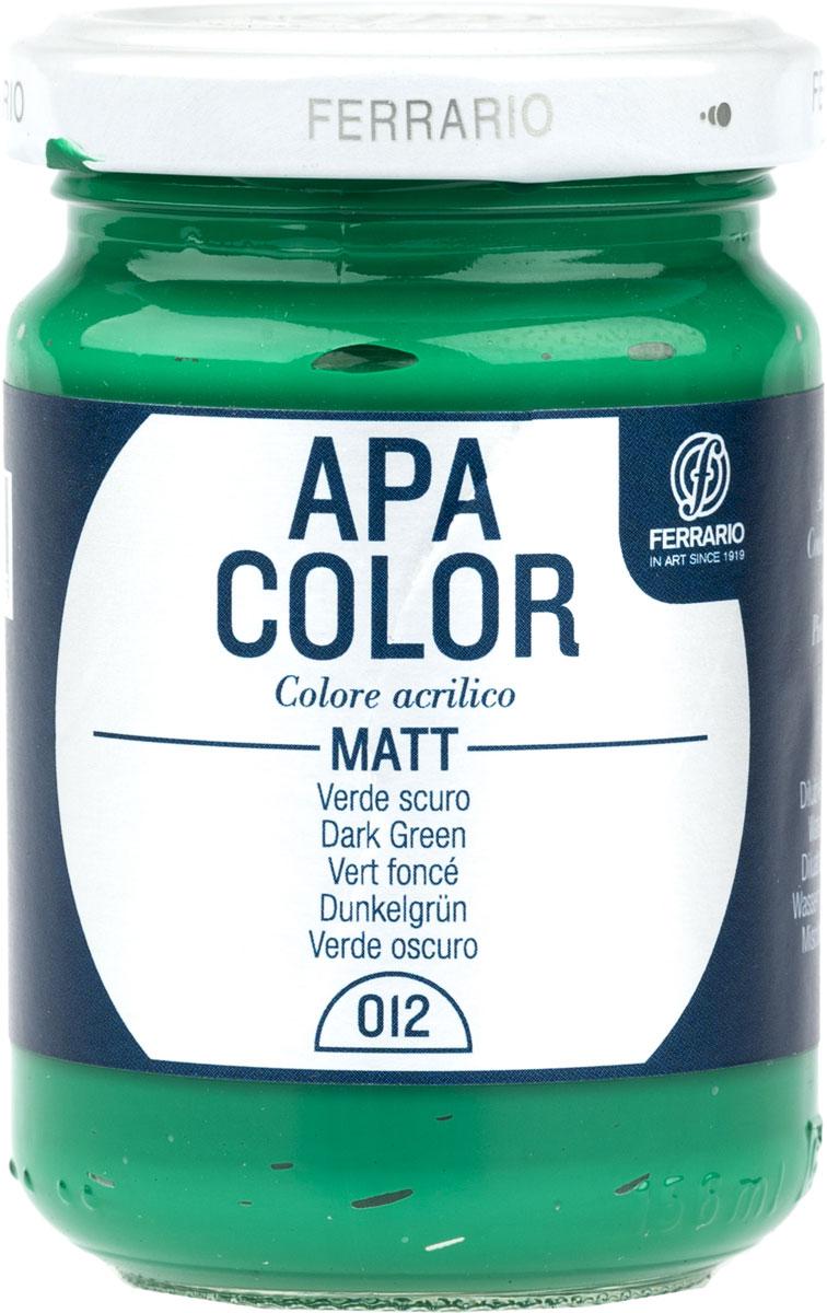 Ferrario Краска акриловая Apa Color цвет темно-зеленыйBA0095AO012Матовая акриловая краска Apa Color итальянской компании Ferrario на водной основе, готова к использованию. Основные качества акриловой краски Apa Color: прочность, светостойкость и экологичность. Благодаря акриловой смоле Apa Color пластична и не дает трещин. Именно поэтому краска прекрасно ложится на любые поверхности, будь то стекло, дерево или ткань, что особенно хорошо в дизайне и декоре. Она быстро сохнет, после высыхания становится водостойкой. Акриловая краска Apa Color не потускнеет со временем, ее светостойкость не позволит измениться цвету, он не выгорит на солнце и не пожелтеет. Акриловая краска Apa Color – это отличный выбор в пользу яркой живописи, так как в ее палитре только глубокие и насыщенные цвета. Из-за того, что акриловая краска Apa Color на водной основе, она почти совсем не пахнет, малотоксична – подходит для работы в помещениях, можно заниматься творчеством вместе с детьми. Акриловая краска Apa Color разводится водой, однако это не значит, что для нее нельзя использовать специальные растворители и медиумы, предназначенные для акриловых красок – в этом случае сохраняется высокая пигментированность, но объем краски увеличивается и появляется возможность создания различных фактур и эффектов. Акриловую краску Apa Color легко наносить кистью, шпателем, валиком.
