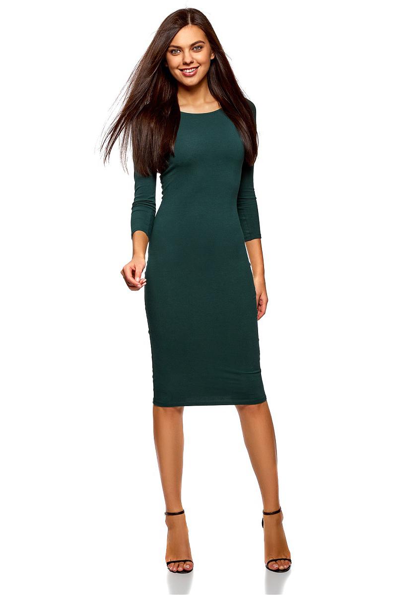 Платье oodji Ultra, цвет: темно-зеленый. 14017001-6B/47420/6900N. Размер XL (50)14017001-6B/47420/6900NИзящное трикотажное платье облегающего силуэта с длинными рукавами выполнено из полиэстера с добавлением эластана. Платье эффектно сидит и отлично смотрится.