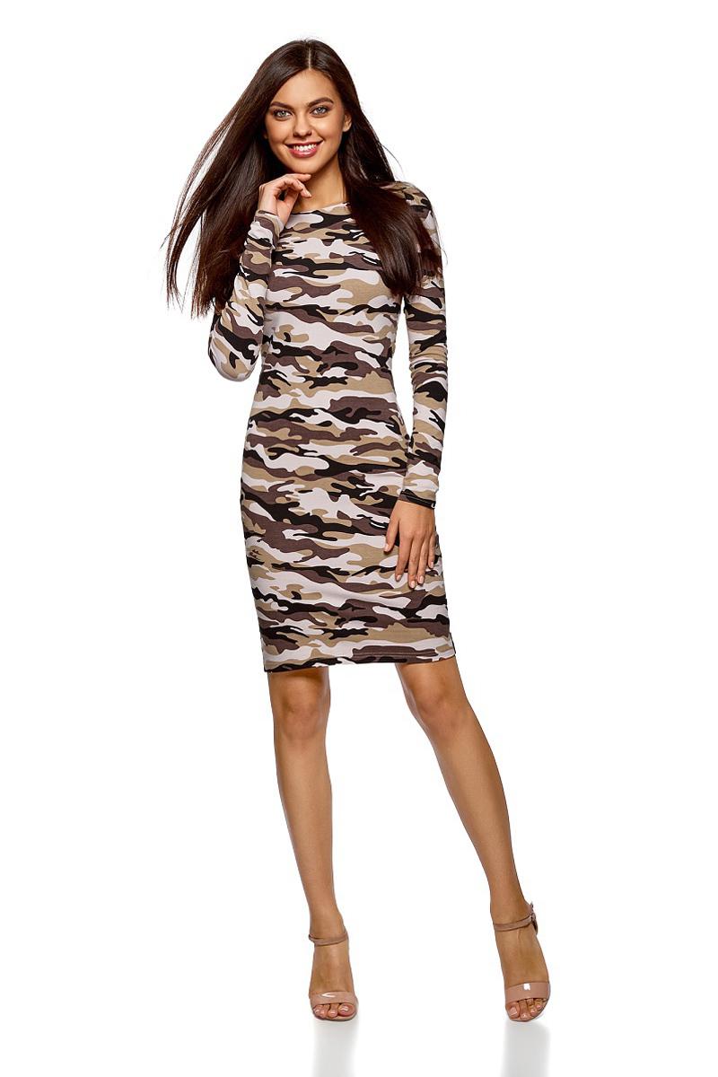 Платье oodji Ultra, цвет: темно-коричневый, бежевый. 14001183/46148/3933O. Размер XL (50)14001183/46148/3933OСтильное мини-платье от oodji выполнено из эластичного хлопкового трикотажа. Модель приталенного кроя с длинными рукавами и круглым вырезом горловины.