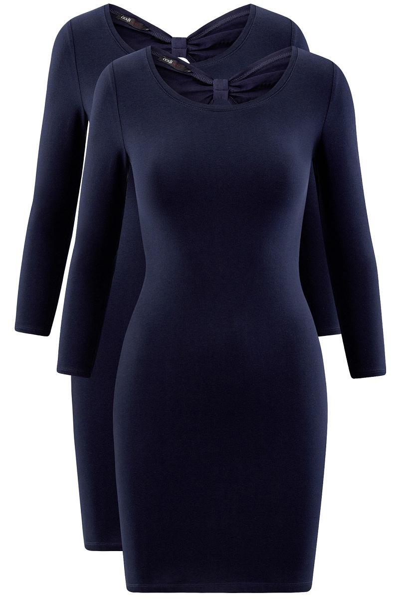 Платье oodji Ultra, цвет: темно-синий, 2 шт. 14001193T2/47420/7900N. Размер M (46)14001193T2/47420/7900NСтильное платье от oodji выполнено из эластичного хлопкового трикотажа. Модель облегающего силуэта с рукавами 3/4 и круглым вырезом горловины на спинке декорирована вырезом-капелькой.В комплекте два платья.