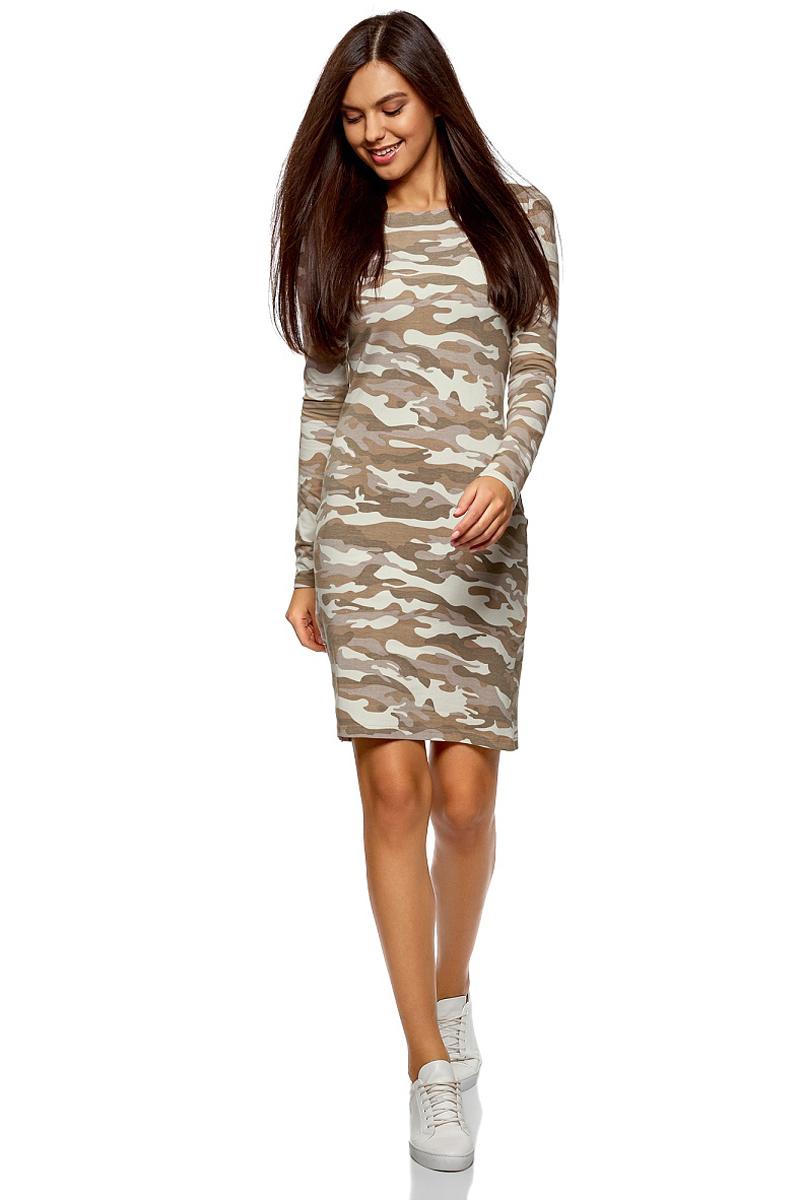 Платье oodji Ultra, цвет: хаки, бежевый. 14001183/46148/6633O. Размер M (46)14001183/46148/6633OСтильное мини-платье от oodji выполнено из эластичного хлопкового трикотажа. Модель приталенного кроя с длинными рукавами и круглым вырезом горловины.