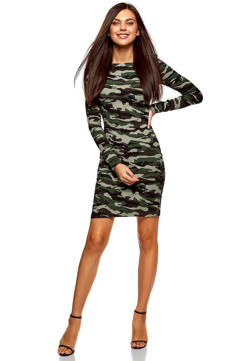 Платье oodji Ultra, цвет: хаки, темно-зеленый. 14001183/46148/6669O. Размер S (44)14001183/46148/6669OСтильное мини-платье от oodji выполнено из эластичного хлопкового трикотажа. Модель приталенного кроя с длинными рукавами и круглым вырезом горловины.
