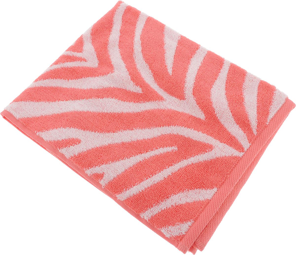 Полотенце Aquarelle Мадагаскар. Зебра, цвет: белый, коралловый, 50 х 90 см полотенце махровое aquarelle таллин 1 цвет ваниль 50 х 90 см 707762