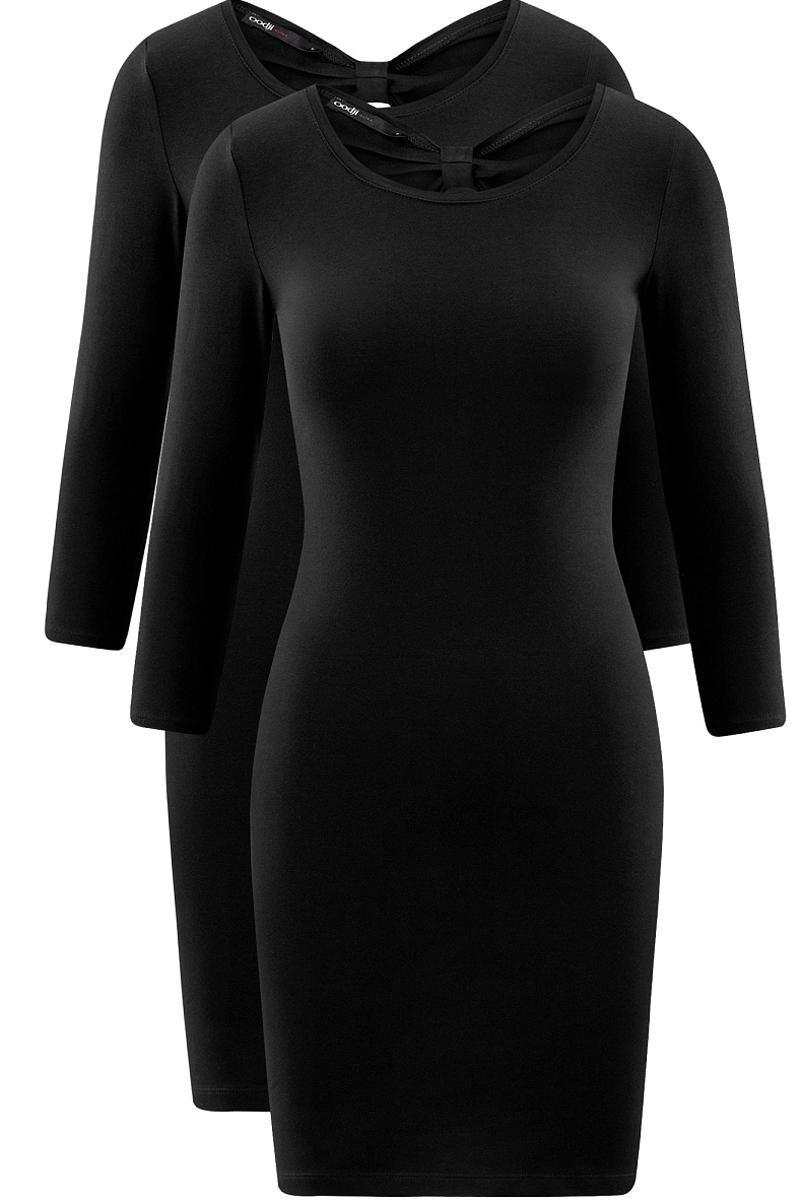 Платье oodji Ultra, цвет: черный, 2 шт. 14001193T2/47420/2900N. Размер M (46)14001193T2/47420/2900NСтильное платье от oodji выполнено из эластичного хлопкового трикотажа. Модель облегающего силуэта с рукавами 3/4 и круглым вырезом горловины на спинке декорирована вырезом-капелькой.В комплекте два платья.